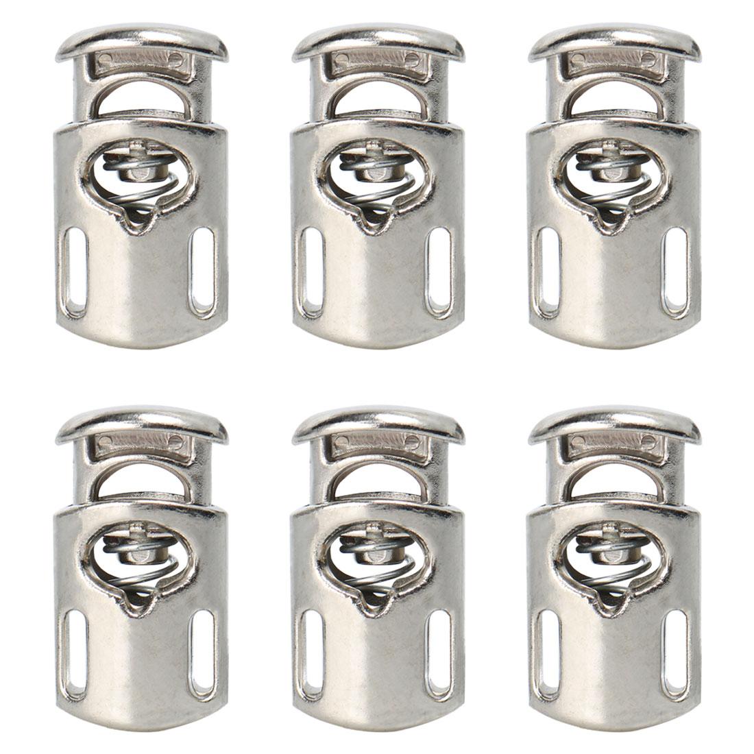 6pcs Plastic Cord Lock Stopper Spring Toggle Fastener Organizer Silver Tone