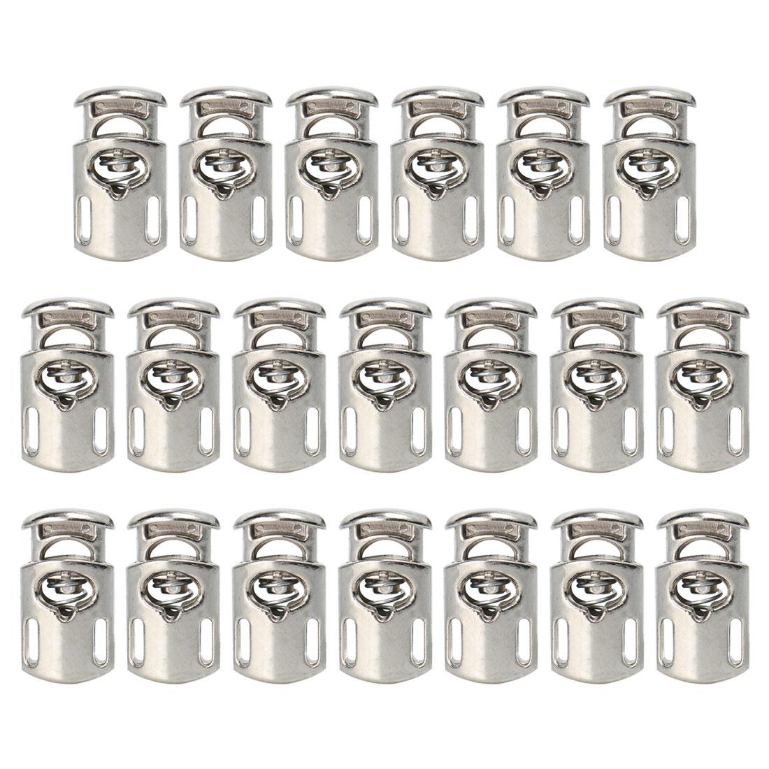 20pcs Plastic Cord Lock Stopper Spring Toggle Fastener Organizer Silver Tone