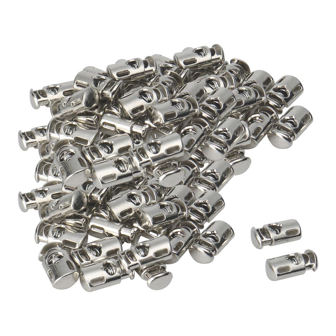 50pcs Plastic Cord Lock Stopper Spring Toggle Fastener Organizer Silver Tone