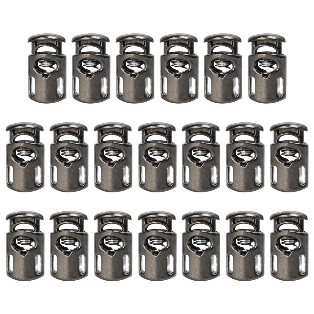 20pcs Plastic Cord Lock Stopper Spring Toggle Fastener Organizer Silver Black