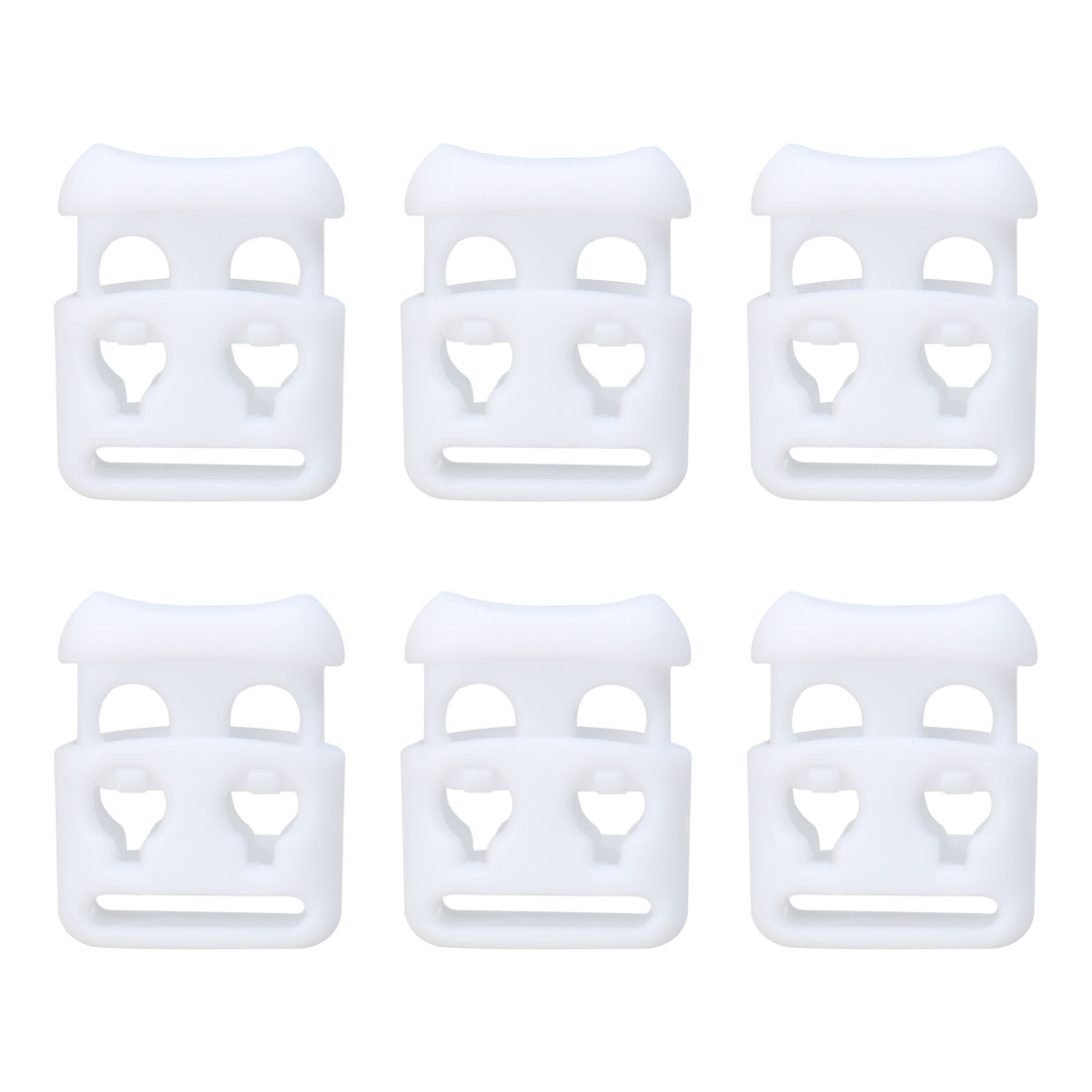 6pcs Plastic Cord Lock Stoppers End Spring Toggle Fasteners Organizer White