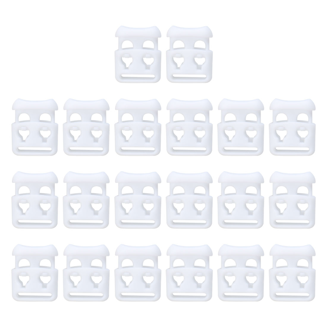 20pcs Plastic Cord Lock Stoppers End Spring Toggle Fasteners Organizer White