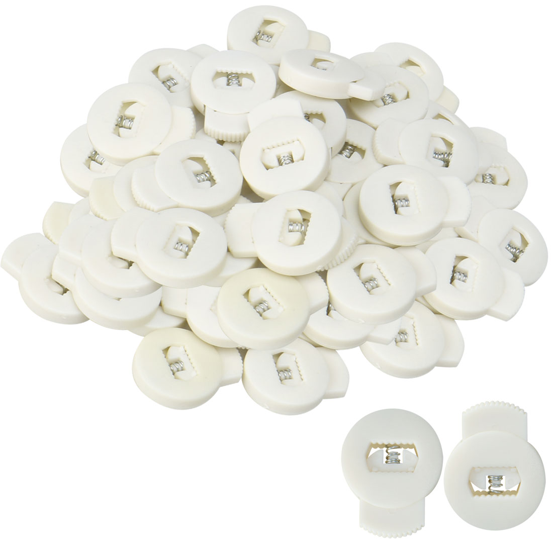 100pcs Plastic Cord Lock Stoppers Ends Spring Toggle Fastener Organizers, White