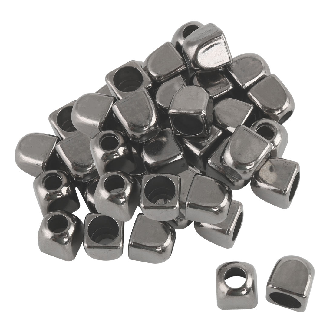 30pcs Plastic Bell End Stopper Square Lace Lock Rope Fastener Silver Black