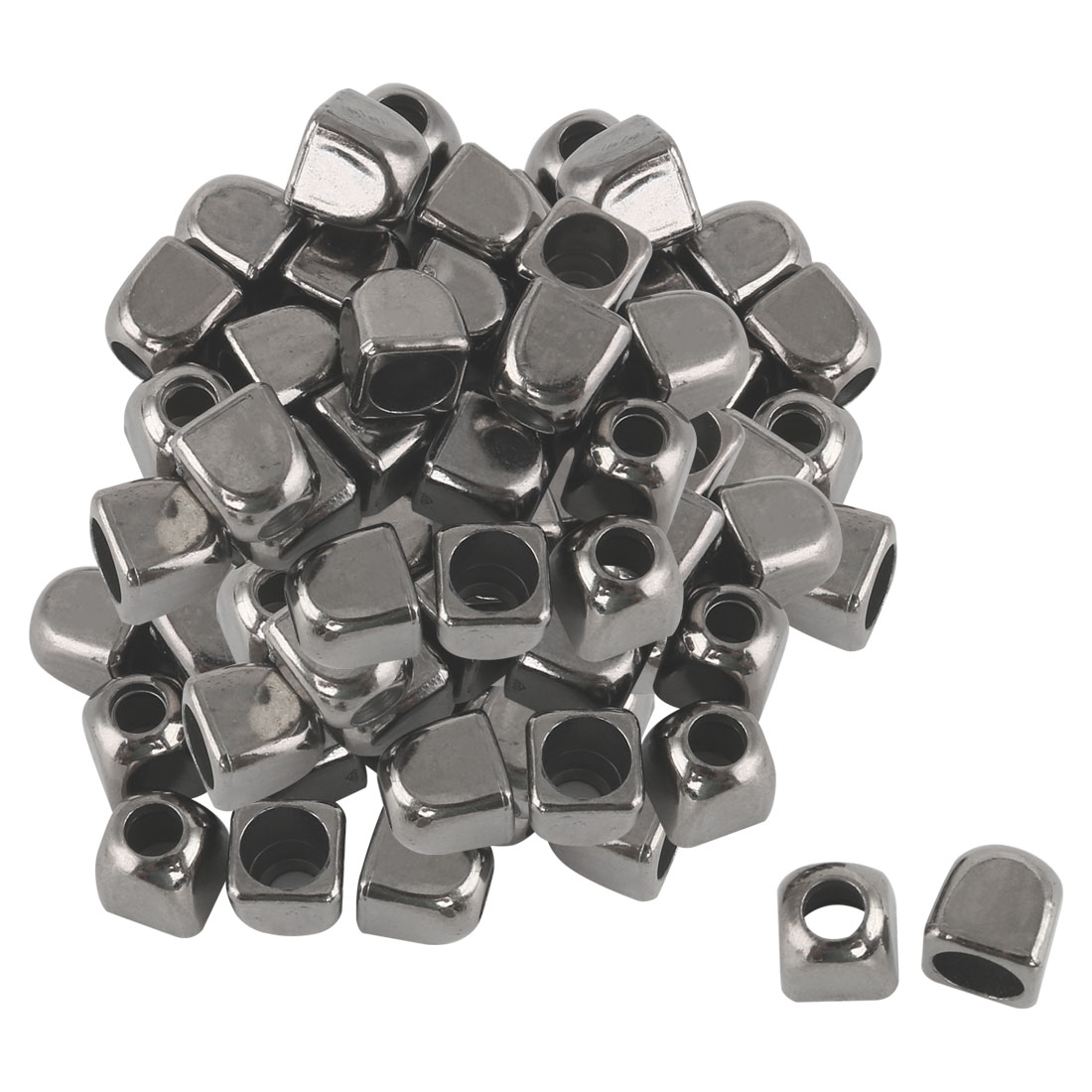 40pcs Plastic Bell End Stopper Square Lace Lock Rope Fastener Silver Black