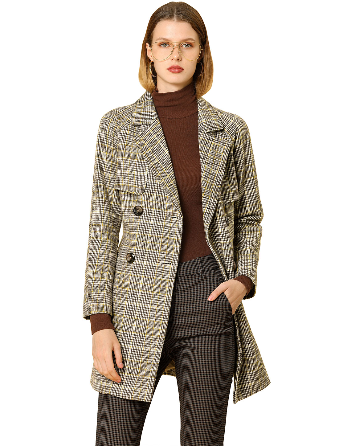 Women' Raglan Sleeve Belted Notched Lapel Plaids Trench Coat Brown L