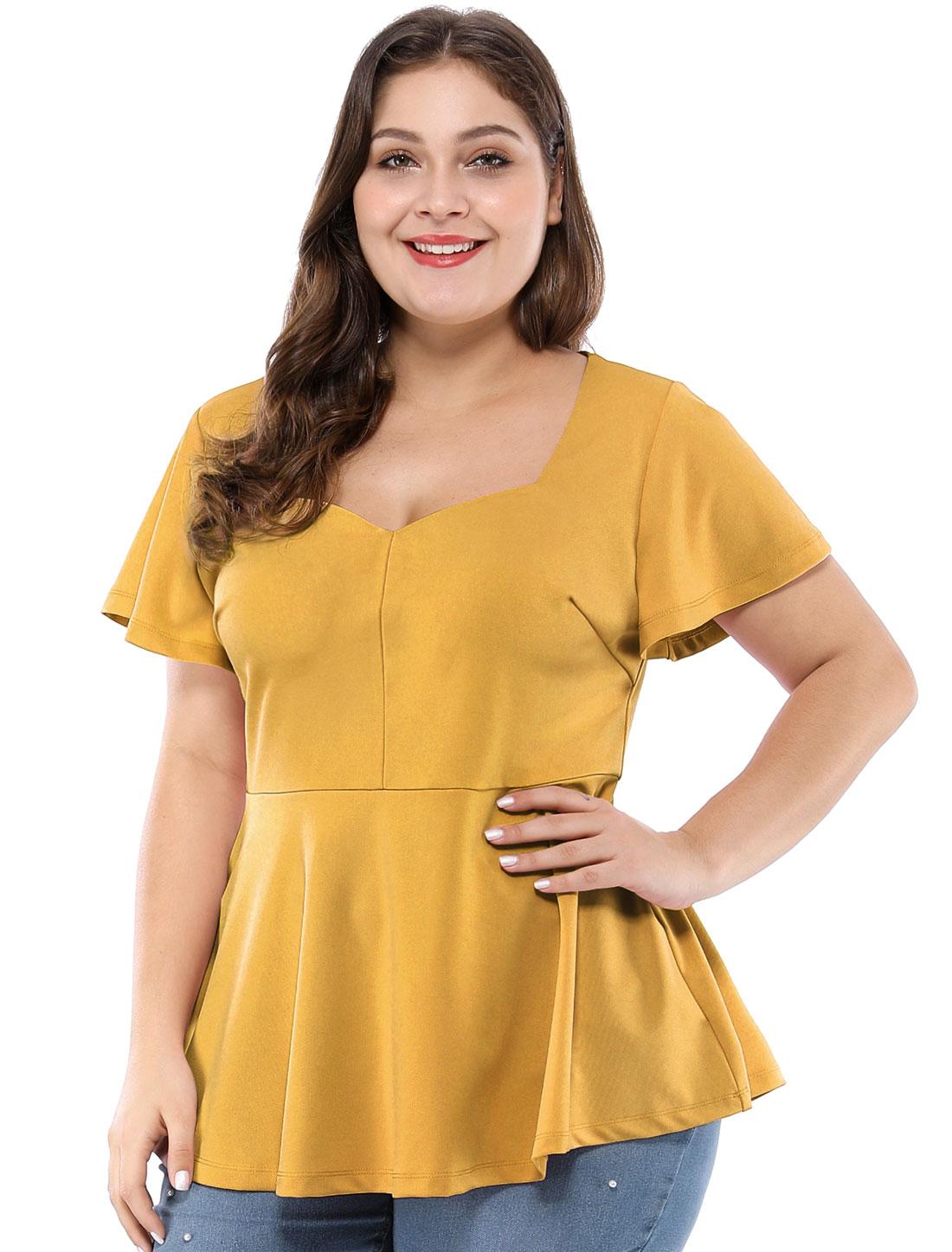 Women's Plus Size Ruffle Sleeves Sweetheart Peplum Top Yellow 4X