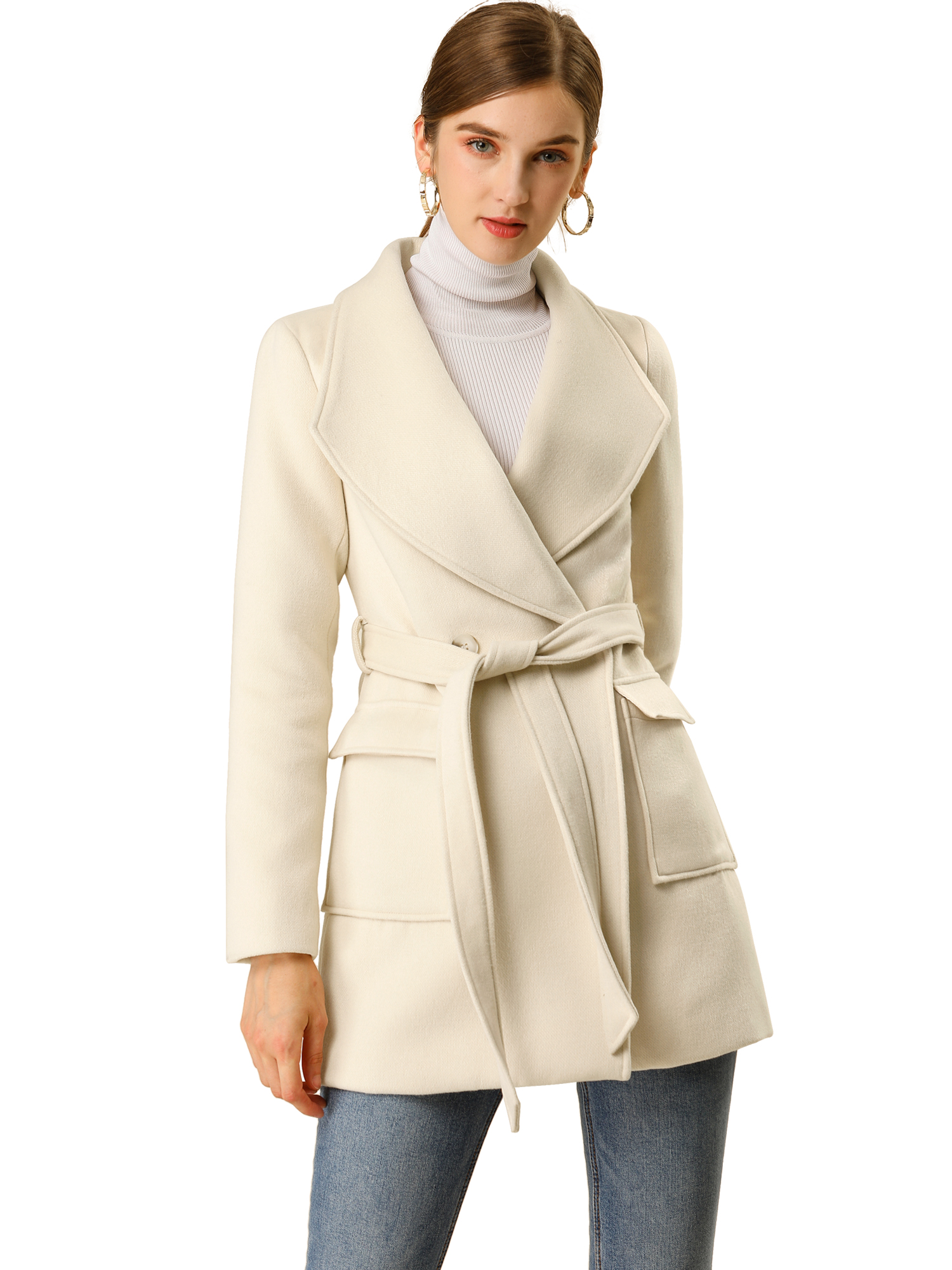 Allegra K Women's Shawl Collar Lapel Belted Coat with Pockets Apricot XS