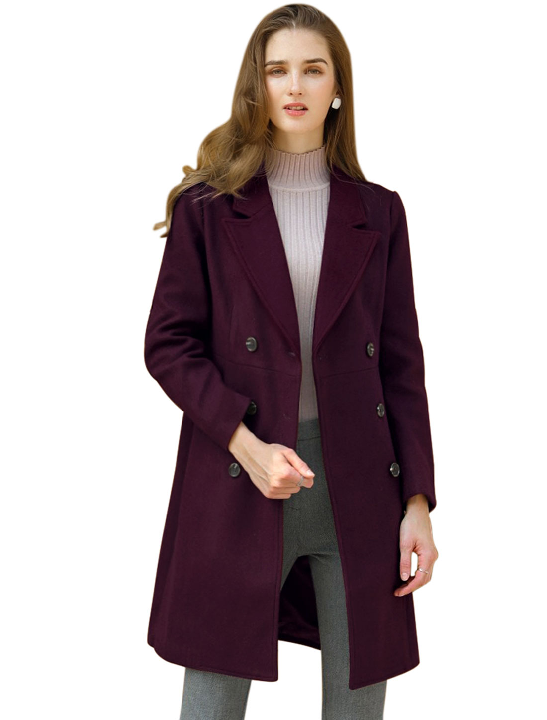 Women's Double Breasted Notched Lapel Winter Long Trench Coat Burgundy XS