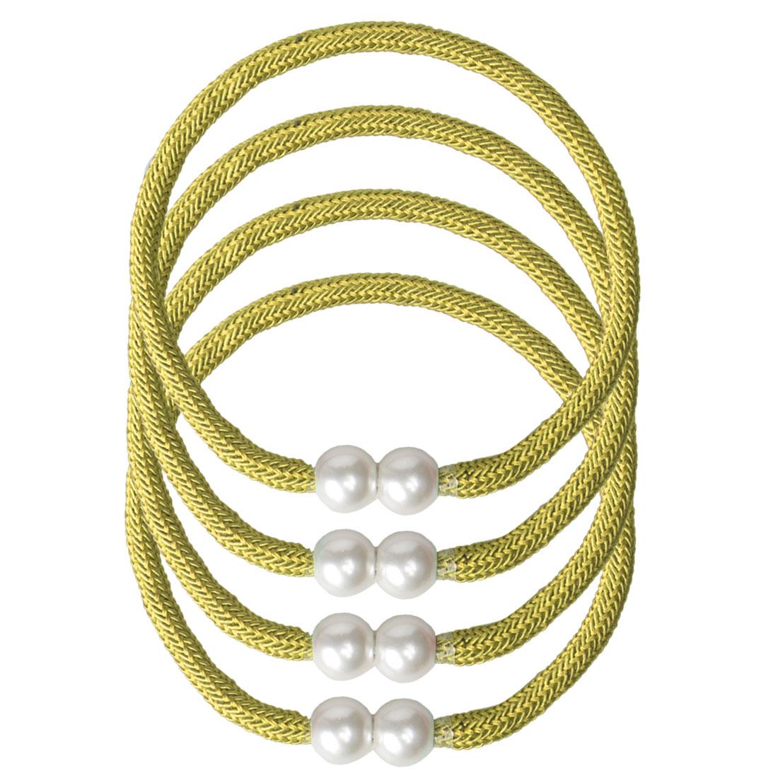 "4pcs Magnetic Curtain Tieback 18"" Holdback Decorative Rope Curtain, Yellow"