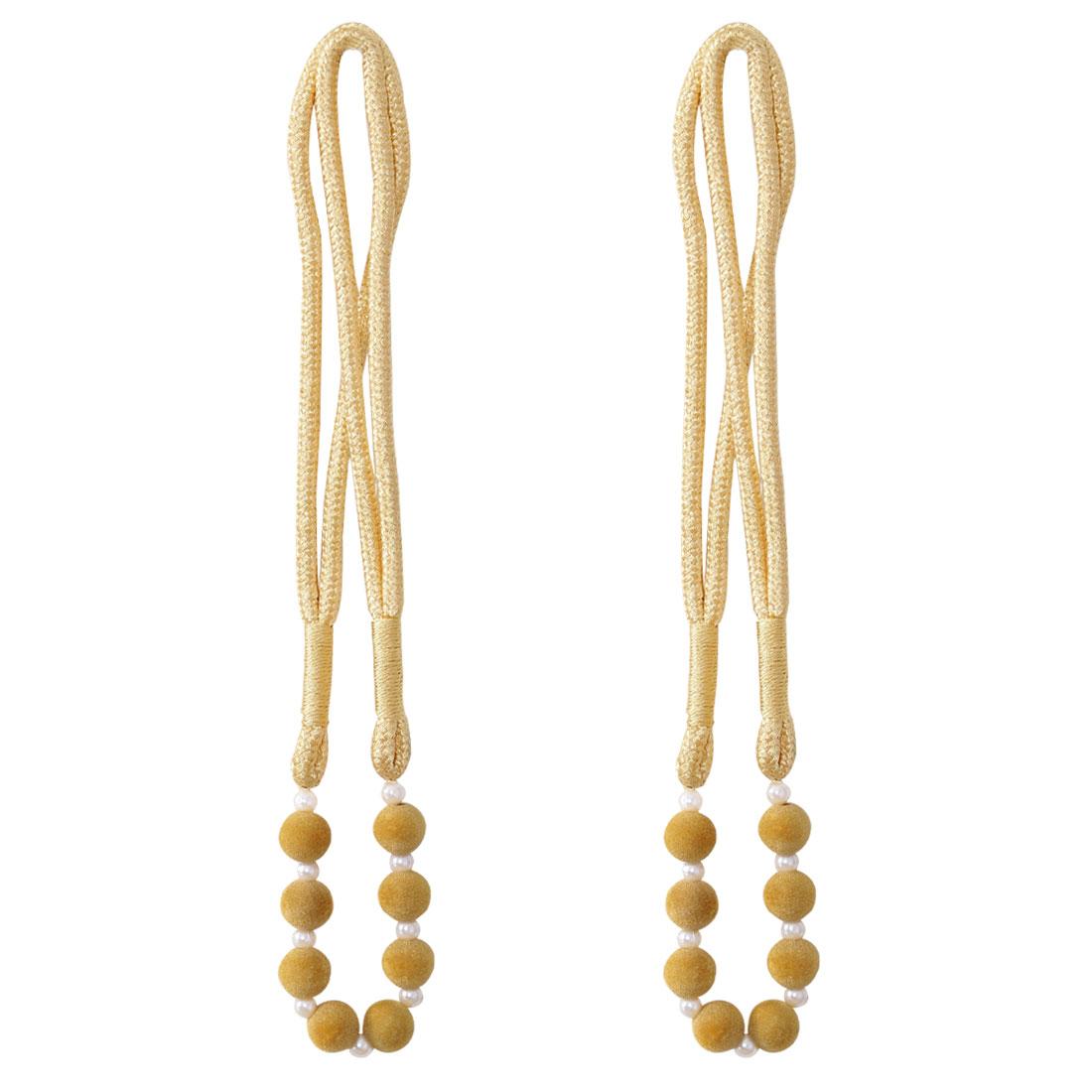 2pcs Curtain Tiebacks 30 Inch Holdback Decorative Rope Tassel Holder, Yellow