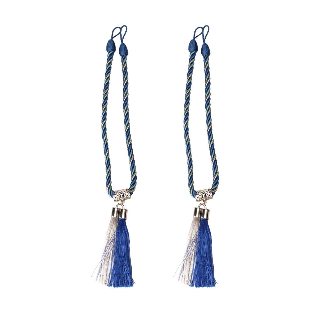 "2pcs Tassel Curtain Tieback 19.7"" Holdback Rope Curtain Holder, Blue"