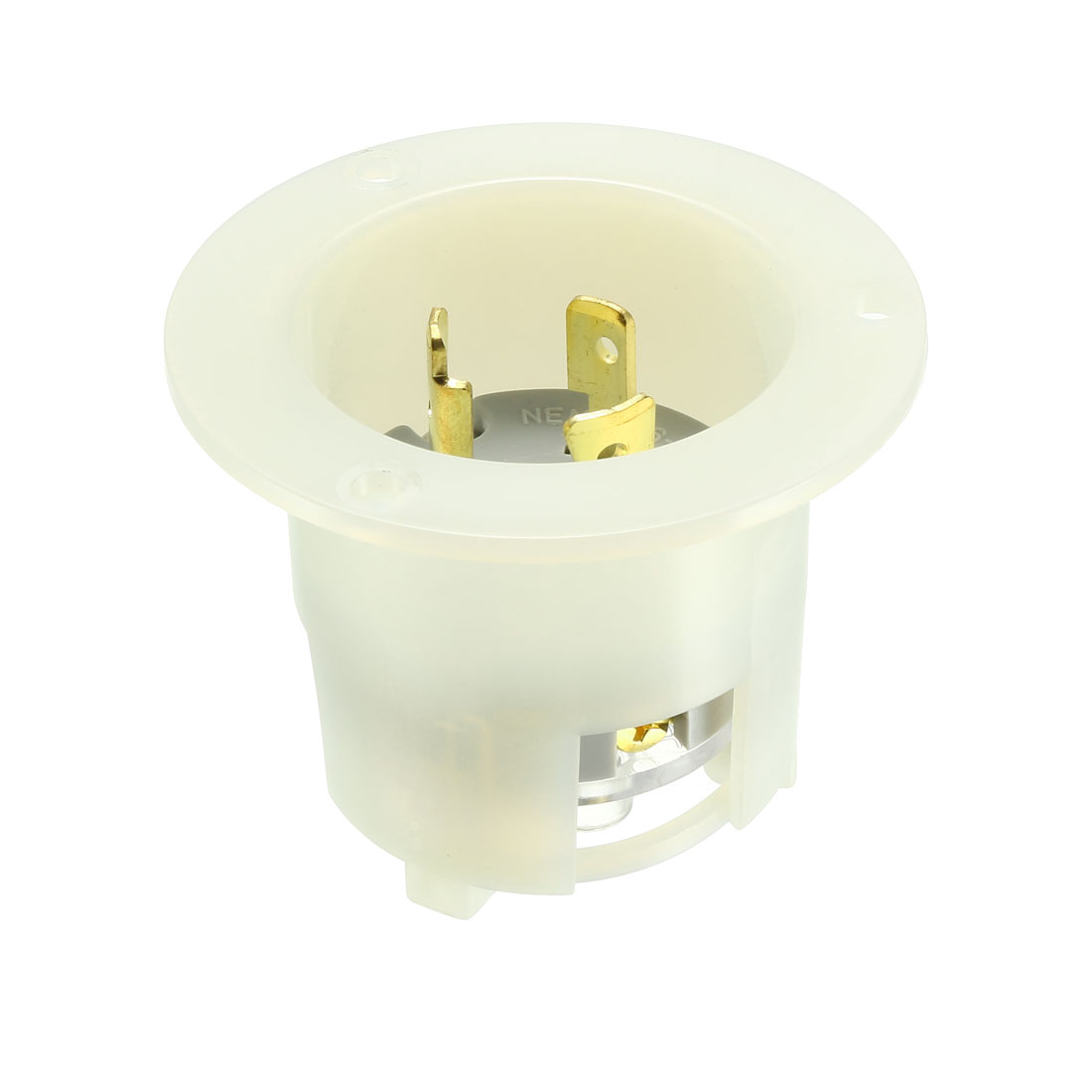 Flanged Power Inlet Twist Lock NEMA L6-20P, 20A 250VAC, 2 Pole 3 Wire