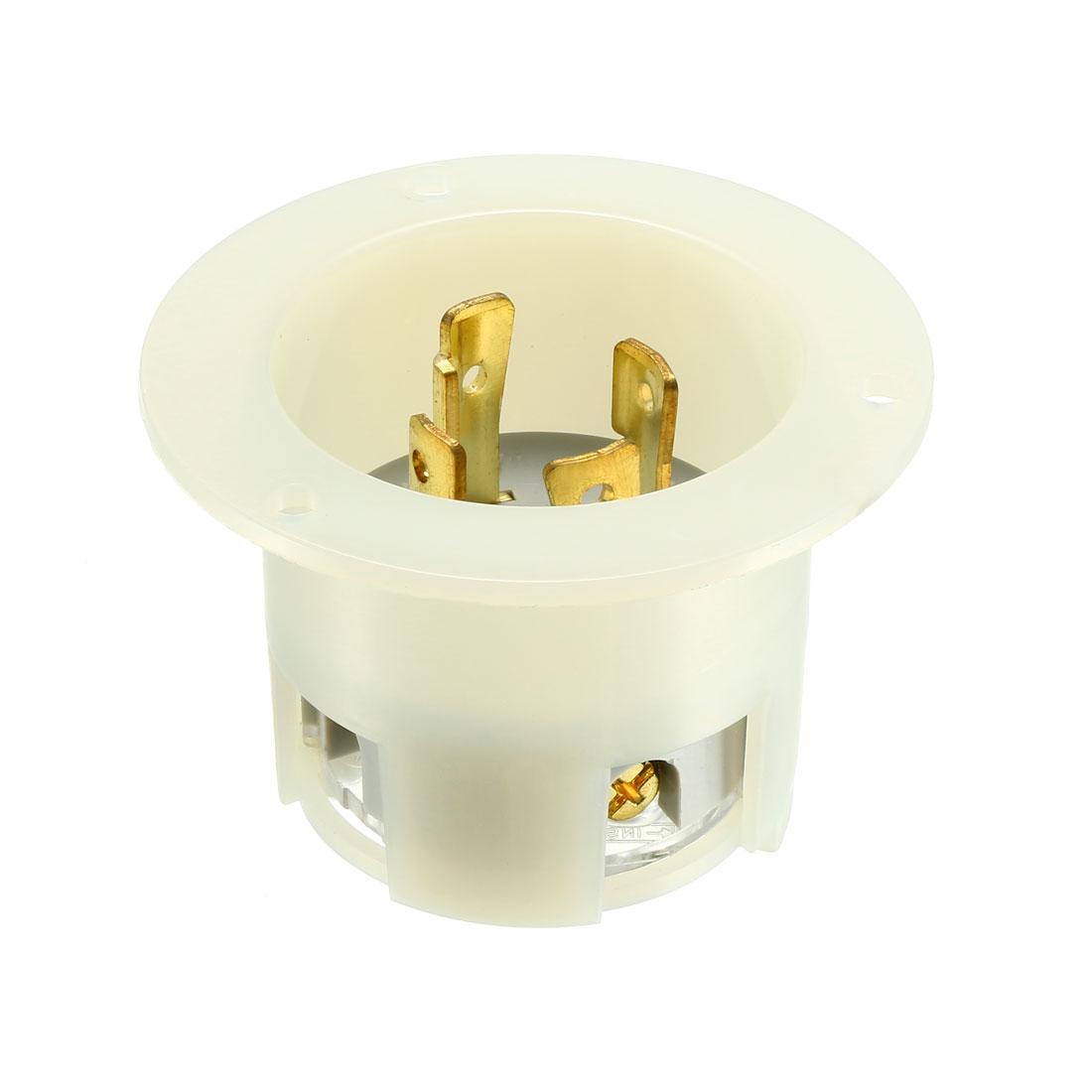 Flanged Power Inlet Twist Lock NEMA L15-30P, 30A 250VAC, 3 Pole 4 Wire