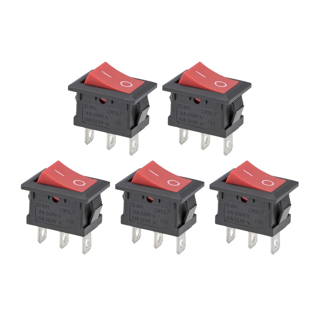 Rocker Switch AC 6A/250V 10A/125V 3 Pin Mini Boat SPDT Toggle Switch ON-ON 5Pcs