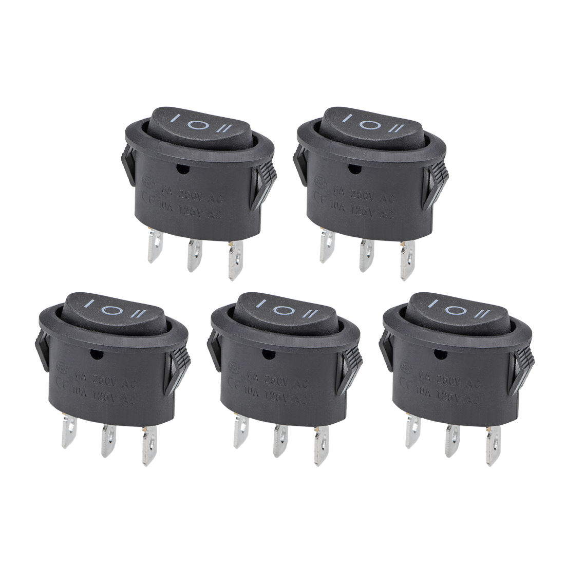 Rocker Switch AC 6A/250V 10A/125V 3 Pin Boat SPDT Toggle Switch ON-OFF-ON 5pcs