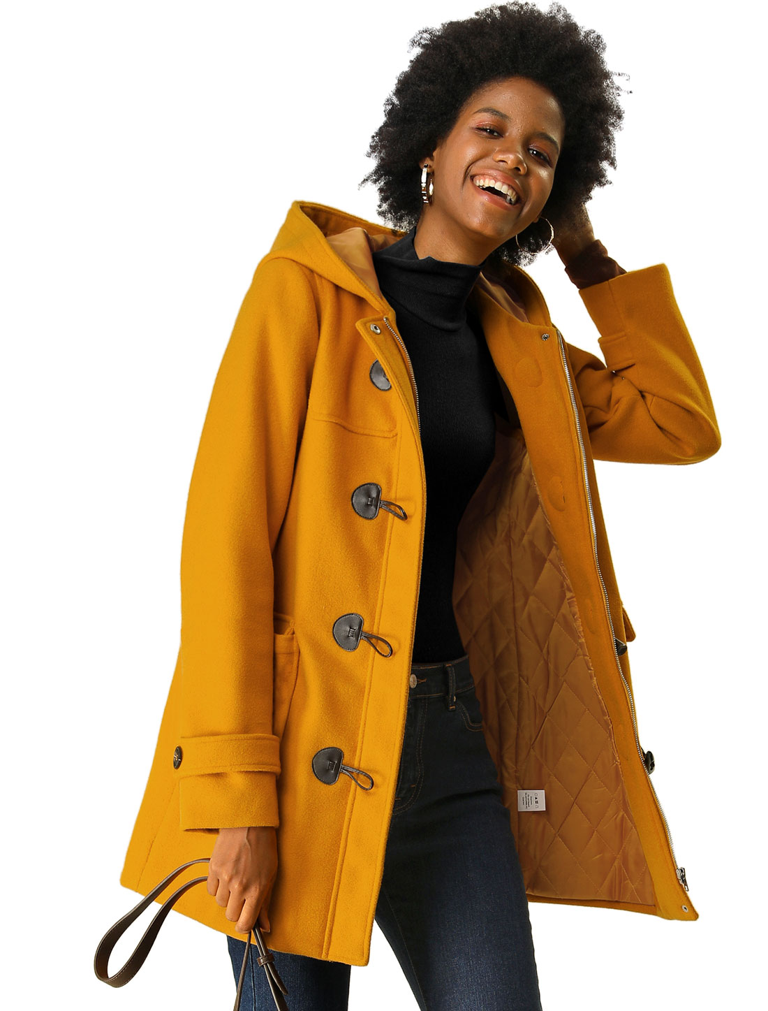 Allegra K Women' Casual Hoodie Toggle Button Long Basic Coat Mustard Yellow M