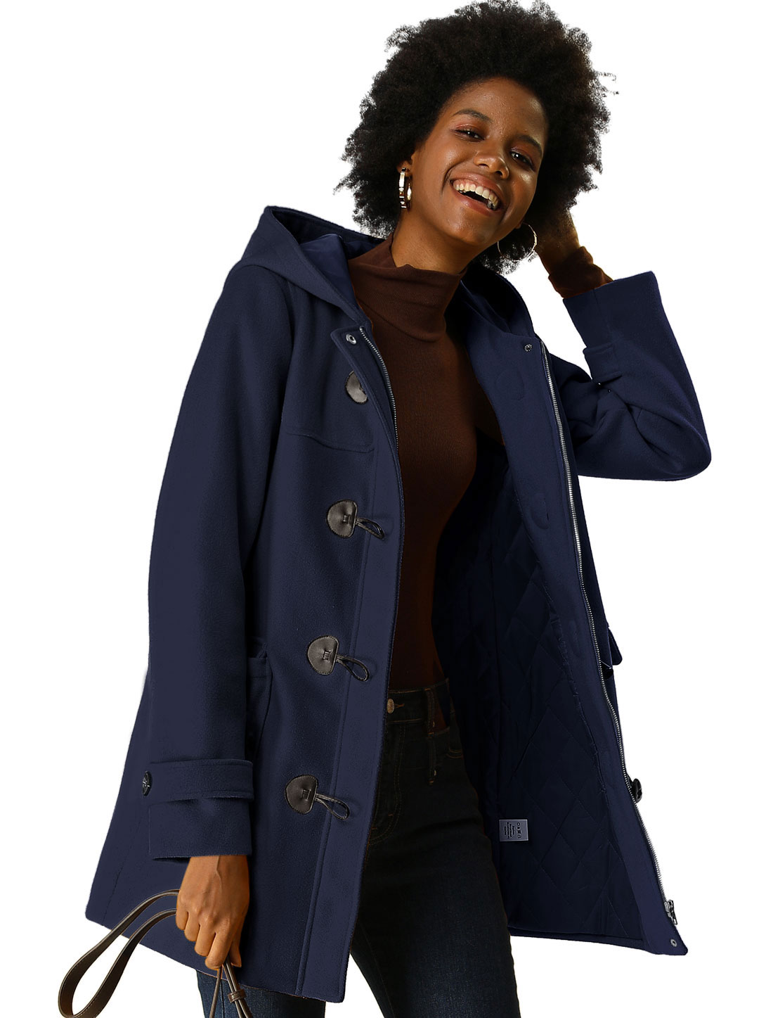 Women's Hooded Horn Button Winter Quilted Padded Coat Dark Blue XS (US 2)