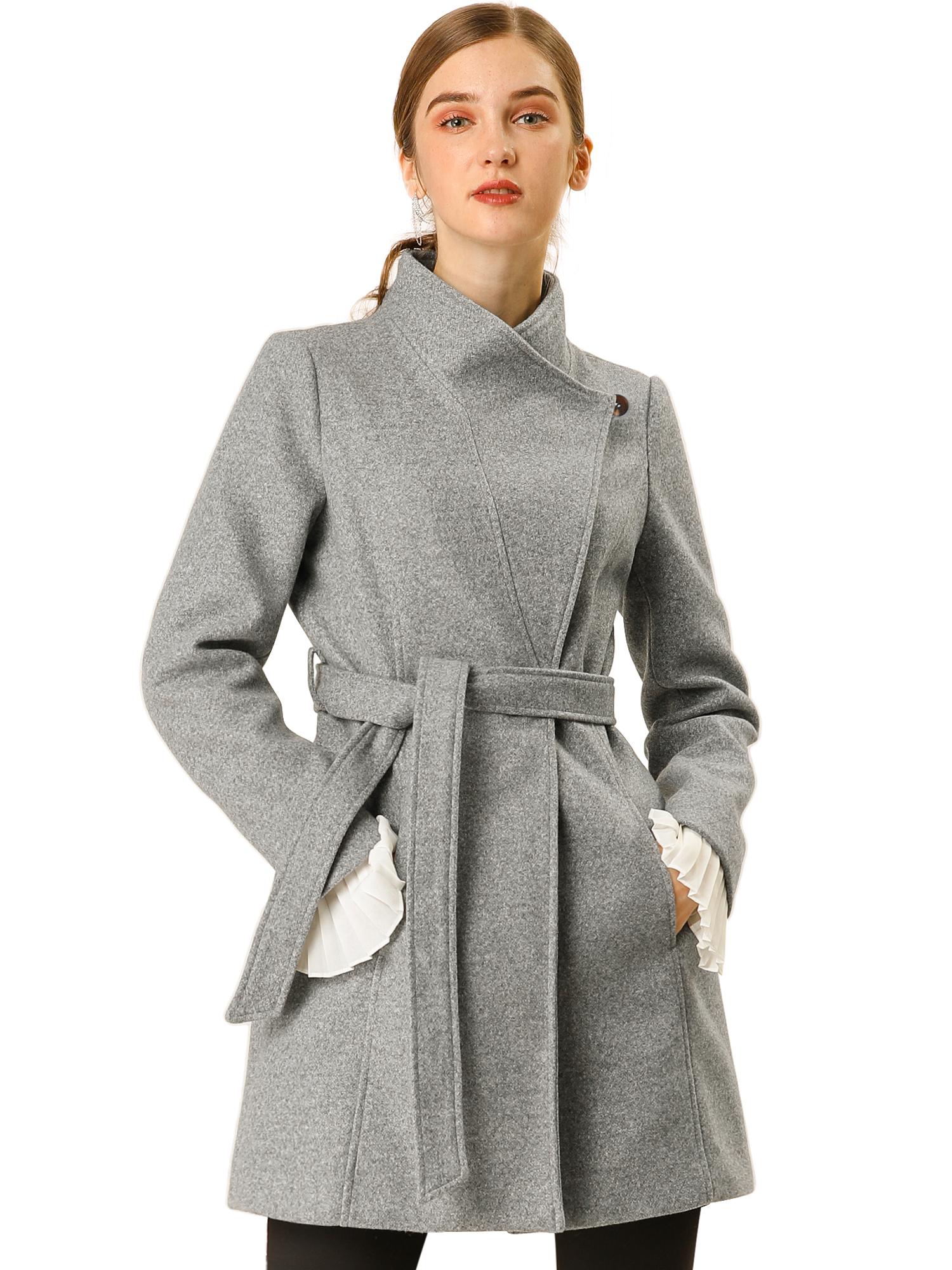 Allegra K Women's Stand Collar Tie Waist Casual Coat Grey M
