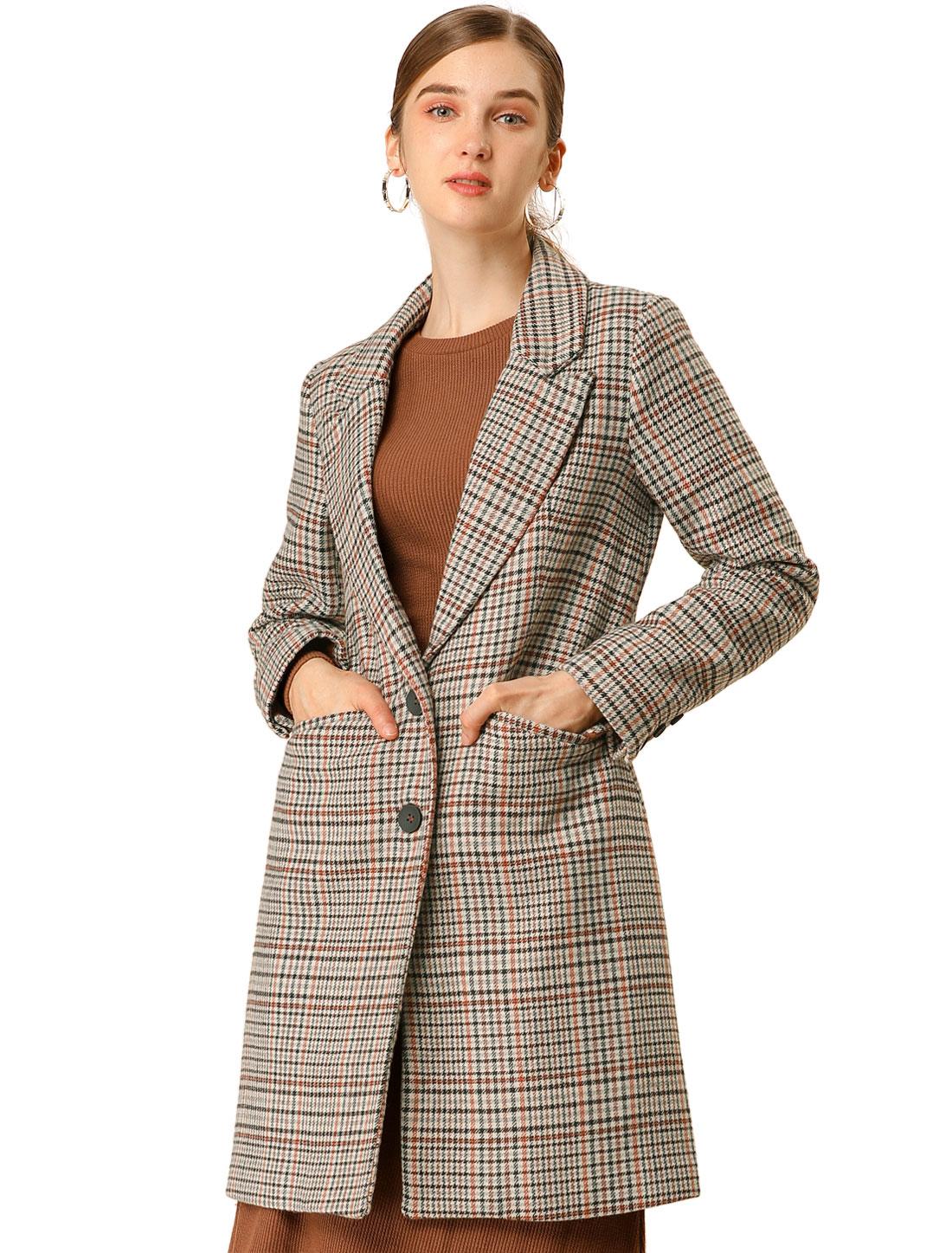 Allegra K Women's Winter Outwear Button Houndstooth Long Coat Brown XL