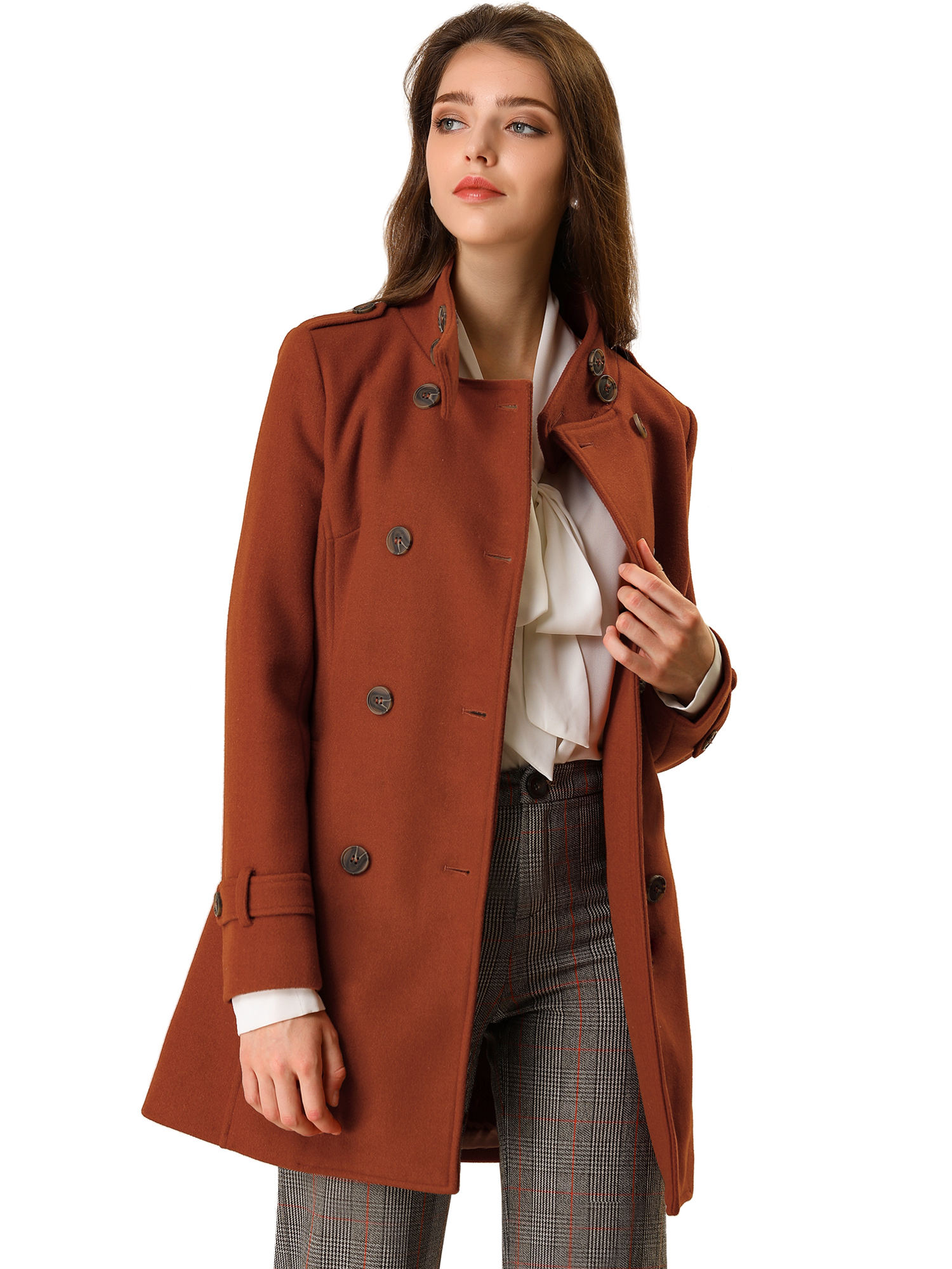 Women's Winter Stand Collar Double Breasted Outwear Trench Coat Brown M