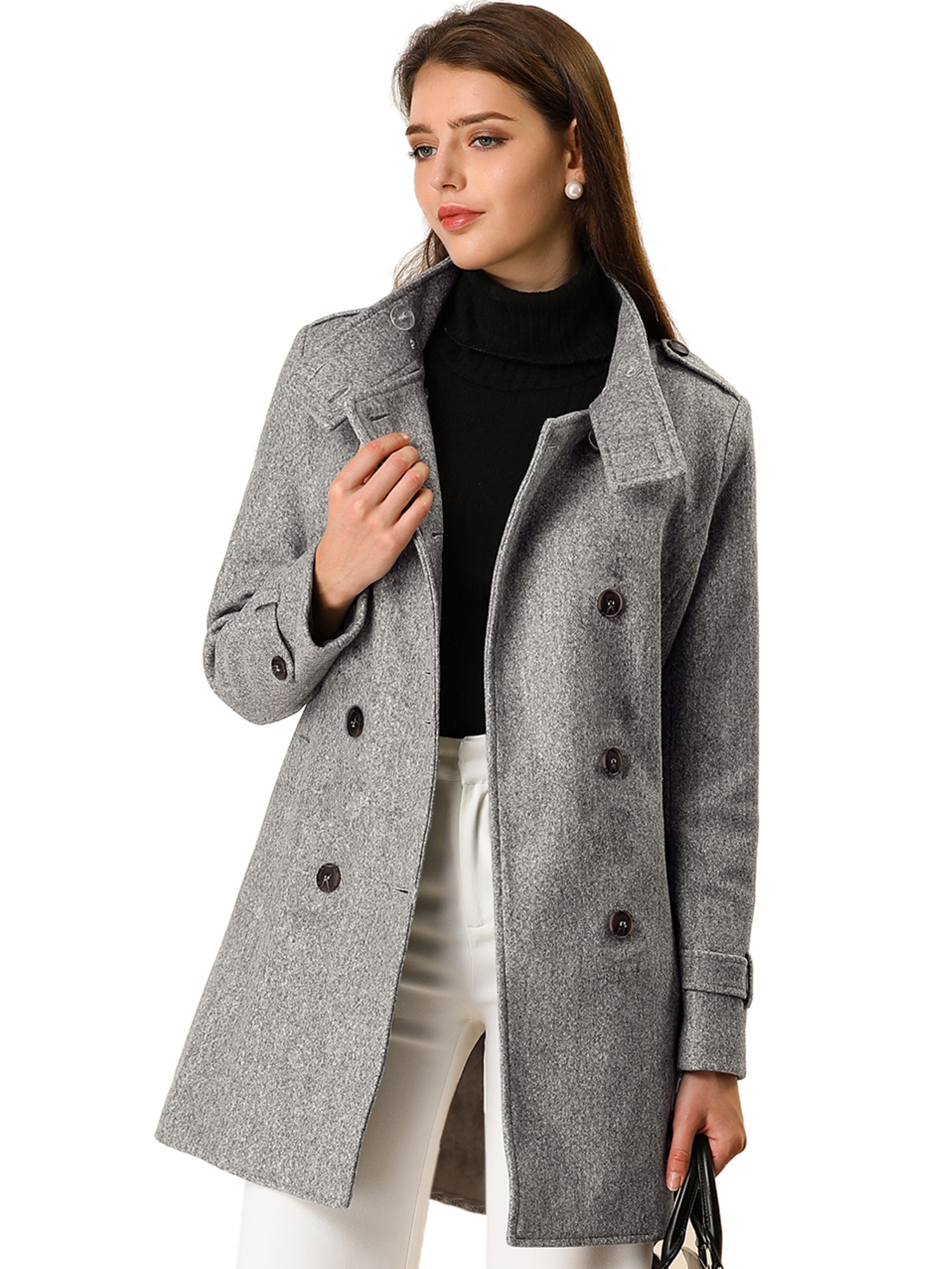Women's Winter Stand Collar Double Breasted Outwear Trench Coat Gray L