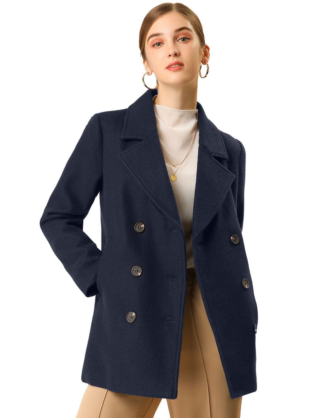 Women's Double Breast Notched Lapel Pocket Mid Thigh Felt Coat Dark Navy Blue M