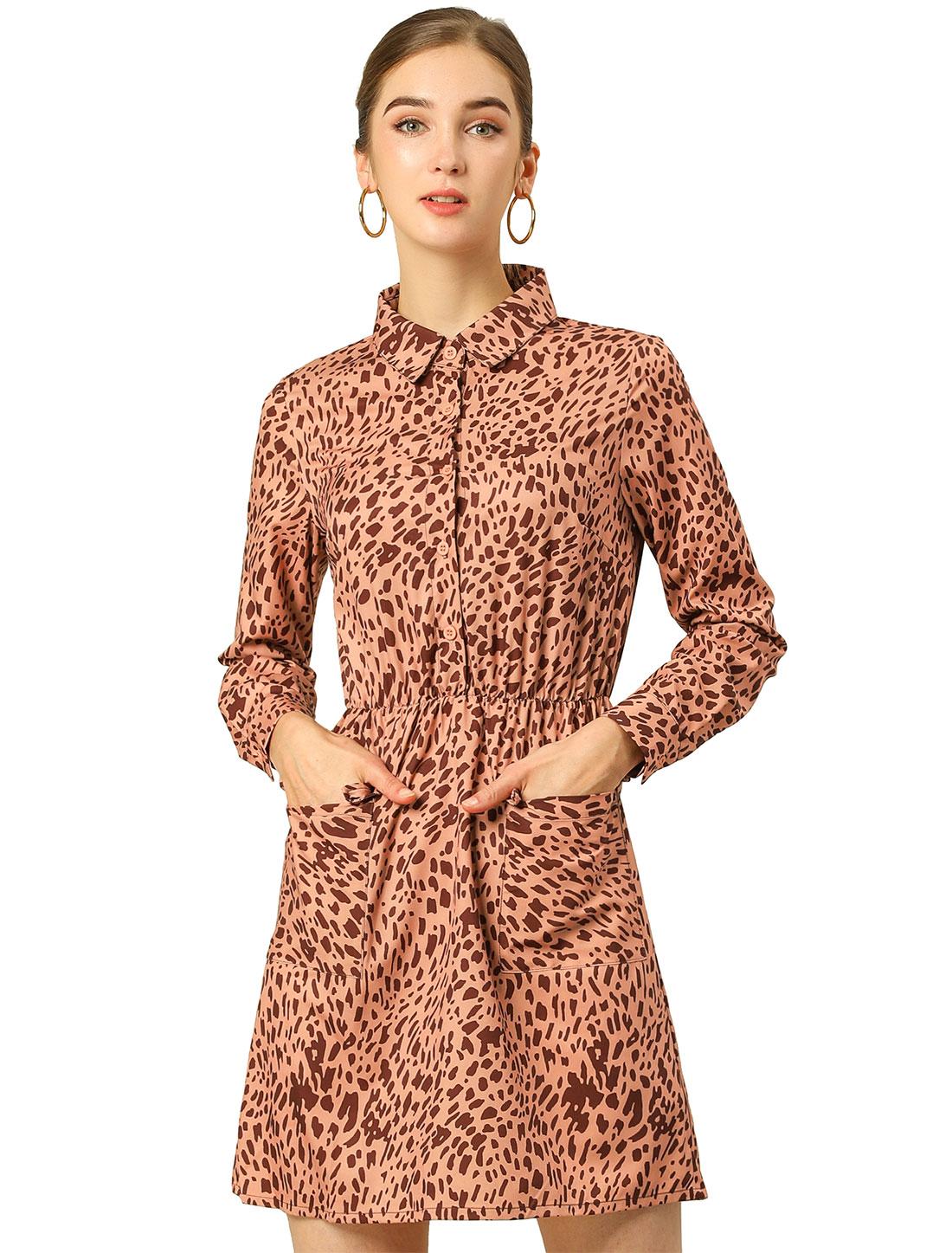 Allegra K Womens Leopard Prints Pocket Above Knee A Line Dress Brown L