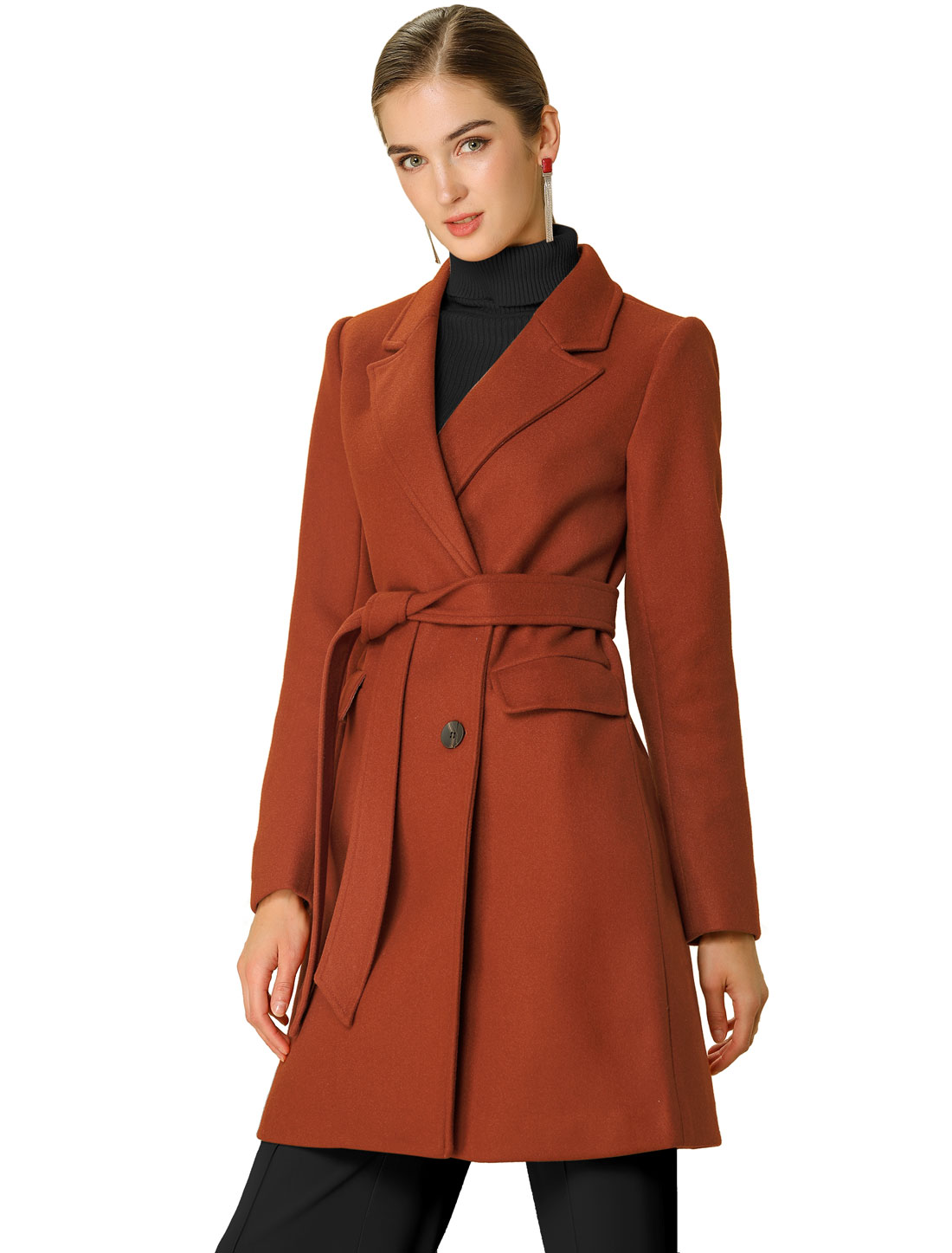 Allegra K Women's button Belt Long Jacket PeaTrench Coat Brick Red XS (US 2)