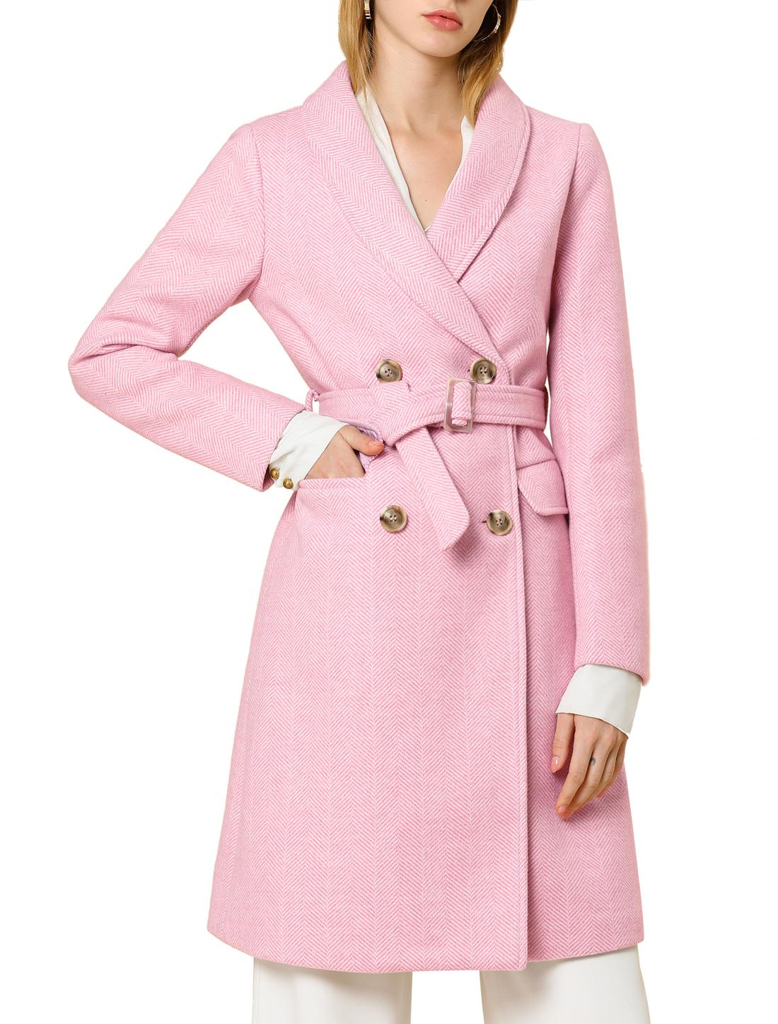 Allegra K Women's Double Breasted Belted Lapel Long Wool Coat Pink XL (US 18)