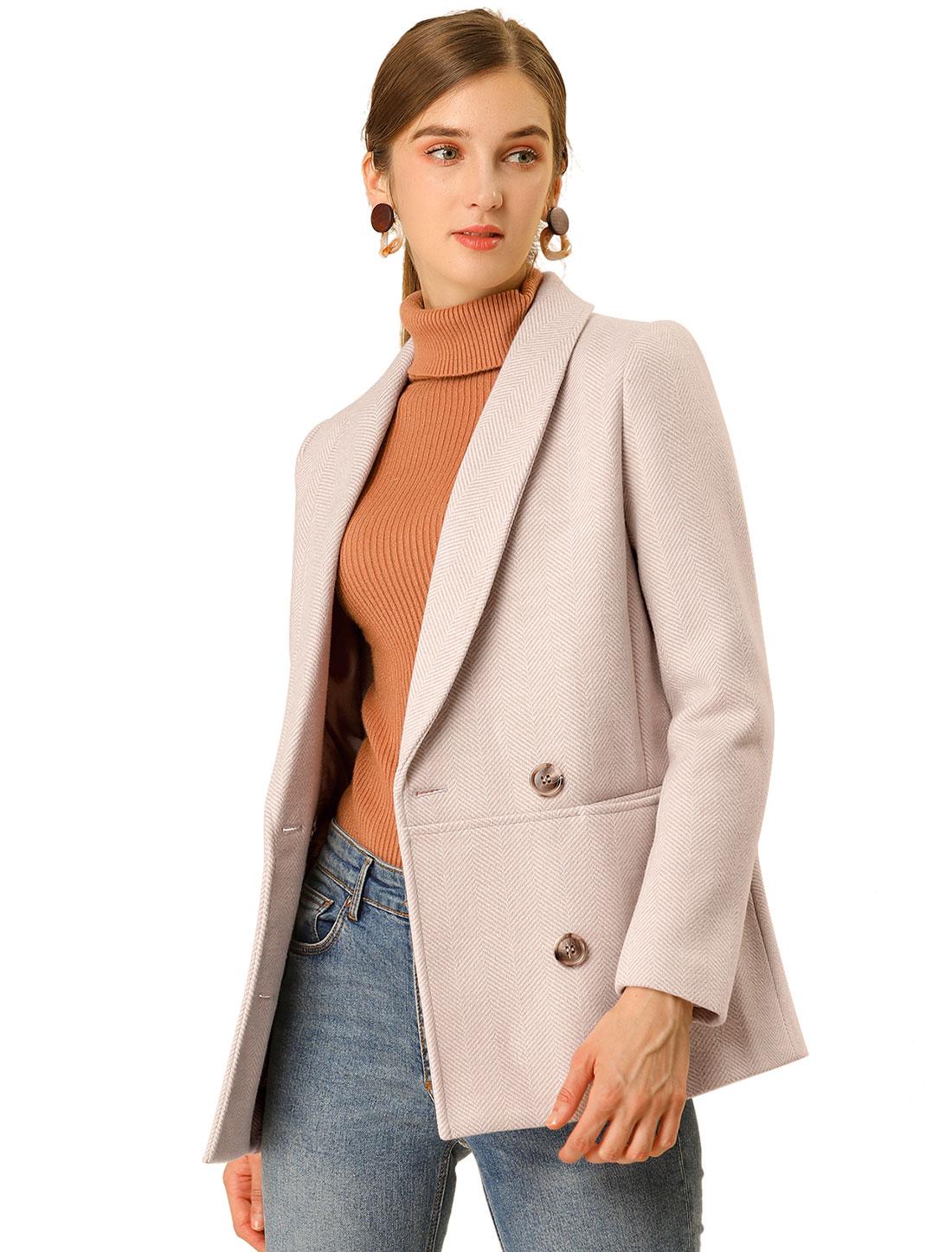 Women's Double Breasted Chevron Pattern Short Pea Coat Beige Pink L