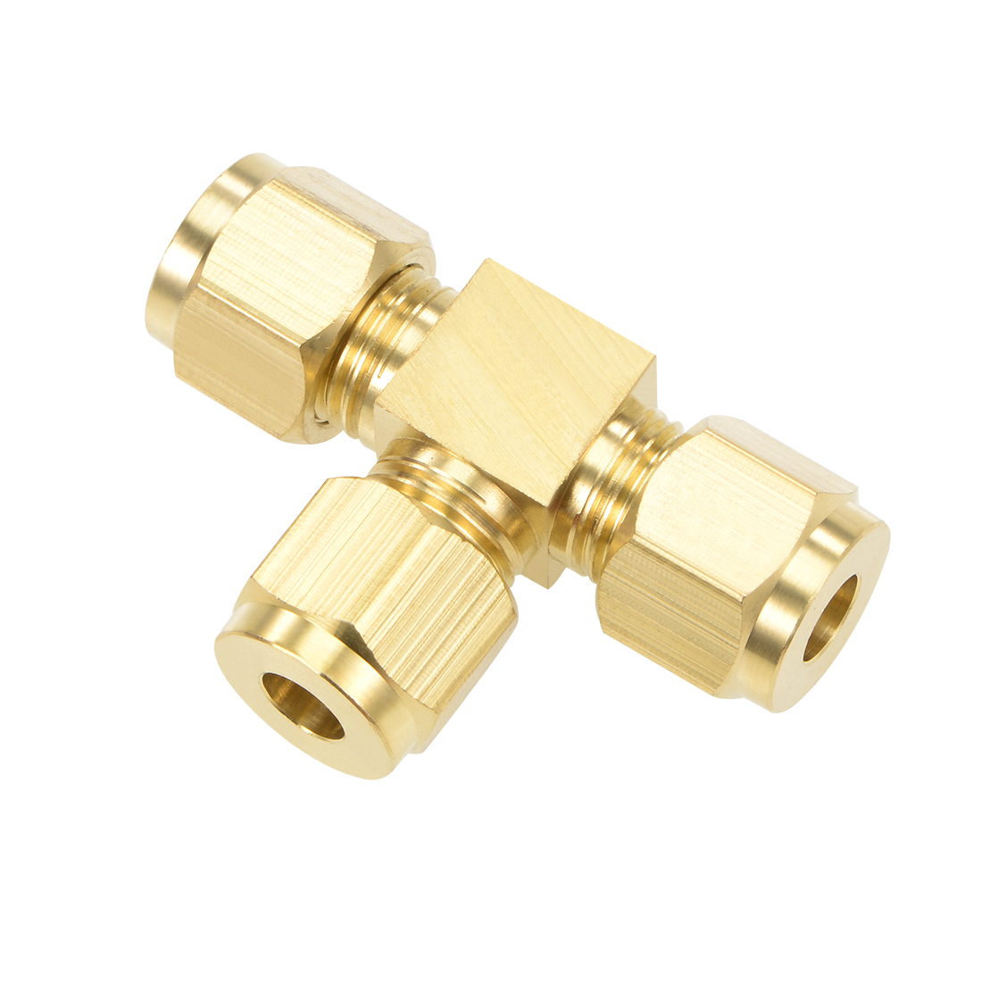 Brass Compression Tube Fitting 6mm OD Tee Pipe Adapter Water Irrigation