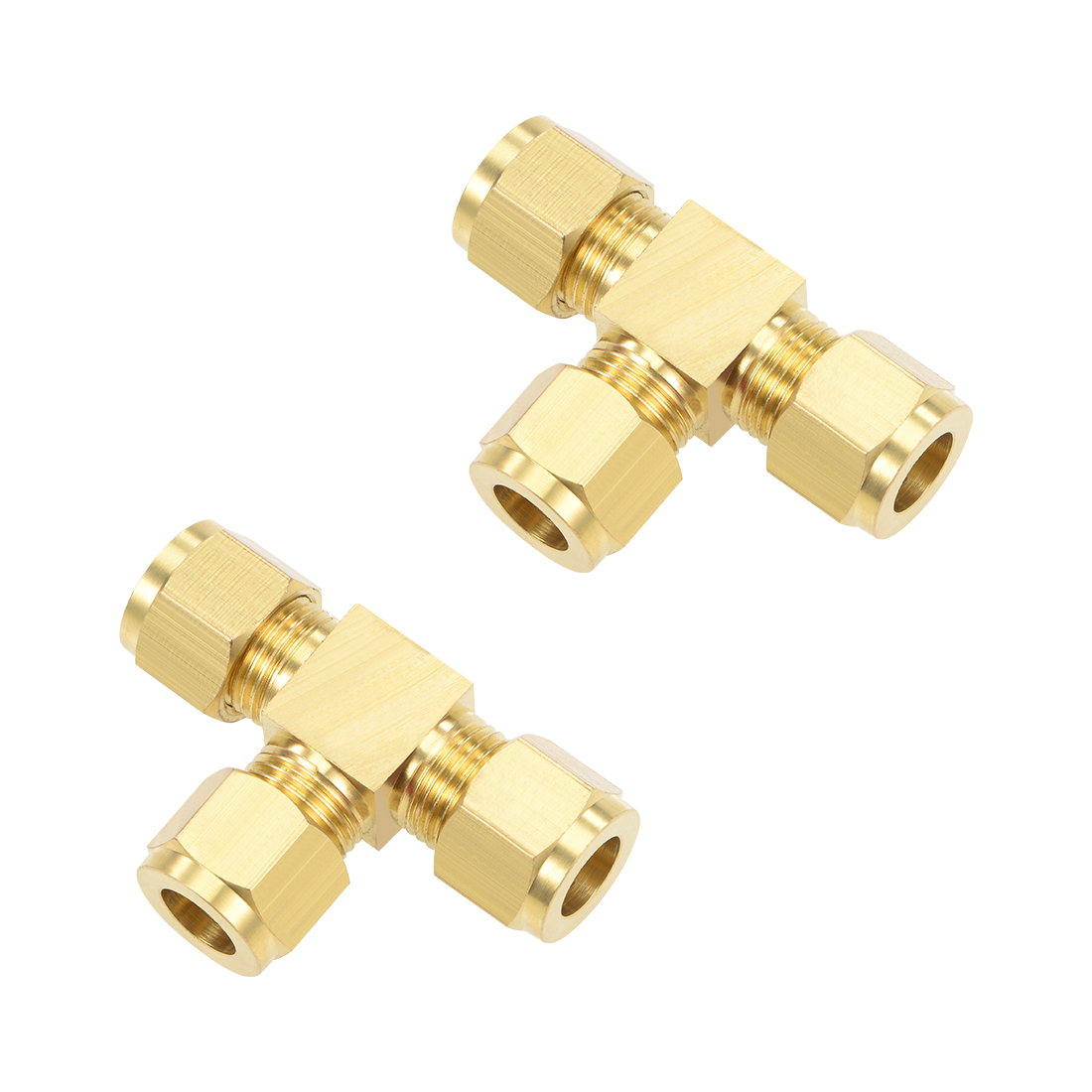 Brass Compression Tube Fitting 9.8mm OD Tee Pipe Adapter Water Irrigation 2pcs
