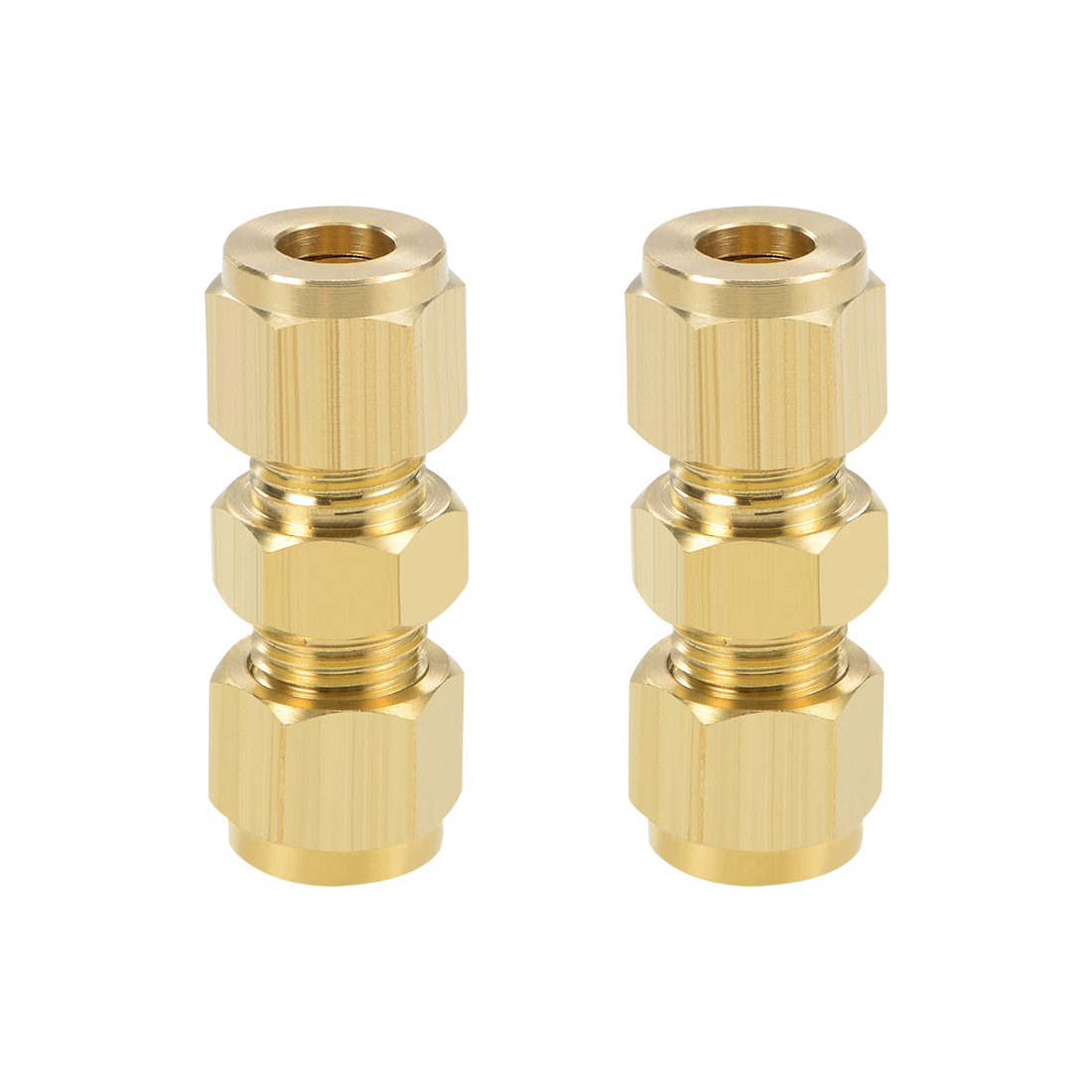 Brass Compression Tube Fitting 8mm OD Straight Pipe Adapter for Irrigation 2pcs