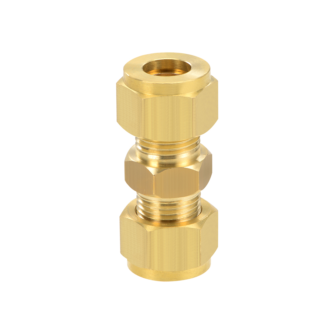 Brass Compression Tube Fitting 9.8mm OD Straight Pipe Adapter for Irrigation
