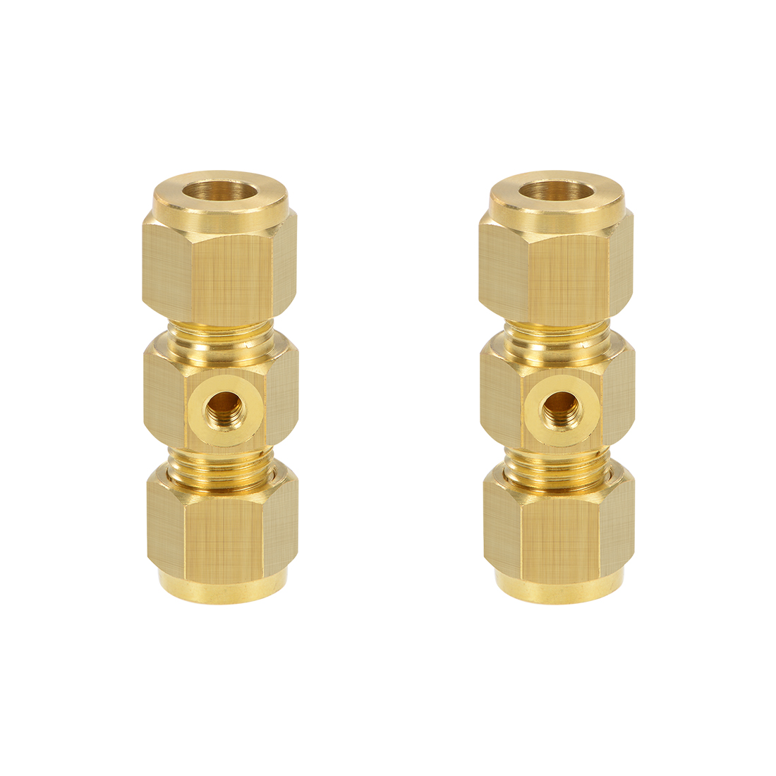 Brass Compression Tube Fitting 9.8mm OD UNC 10-24 Nozzle Hole Pipe Adapter 2pcs