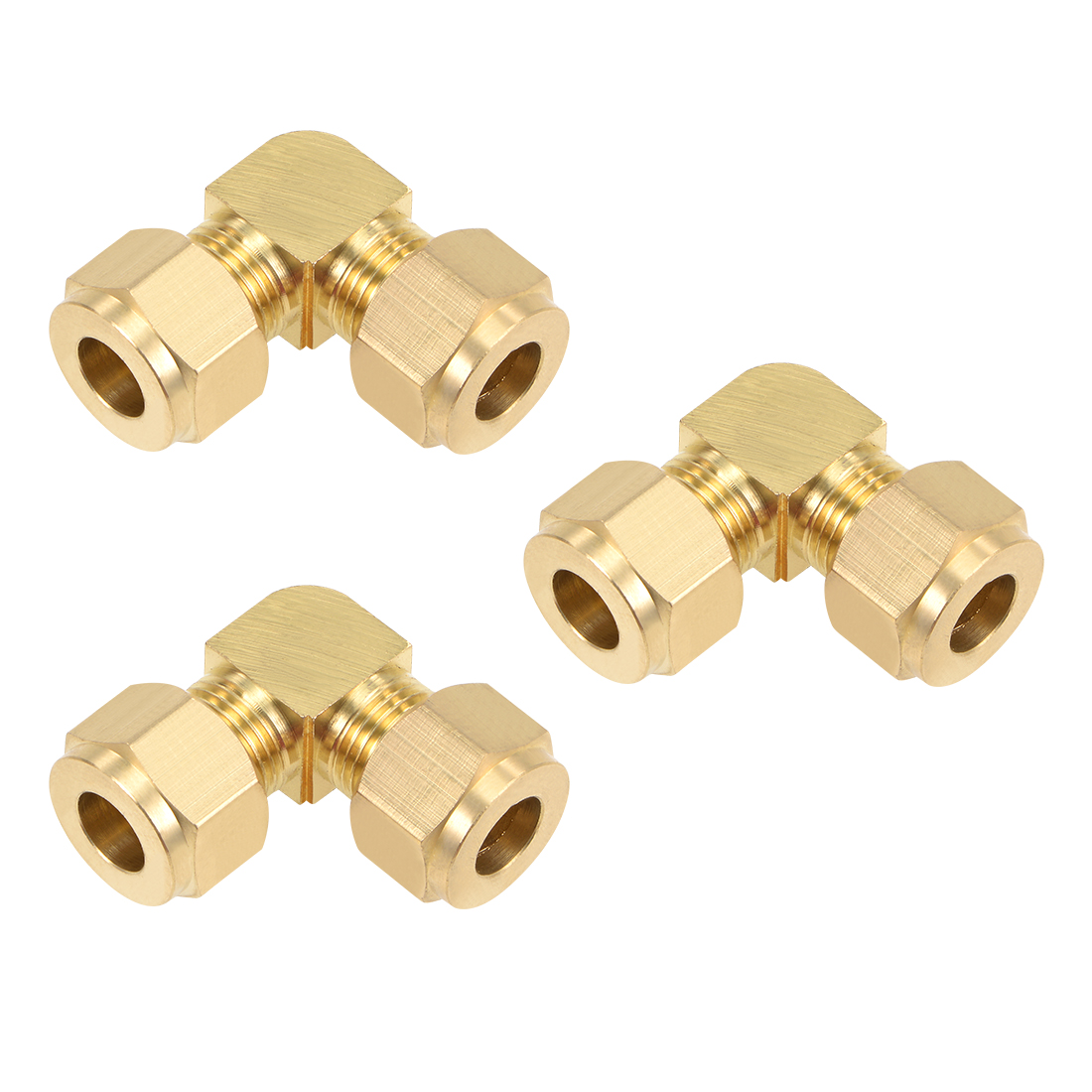 Brass Compression Tube Fitting 9.7mm OD 90 Degree Elbow Pipe Adapter 3Pcs