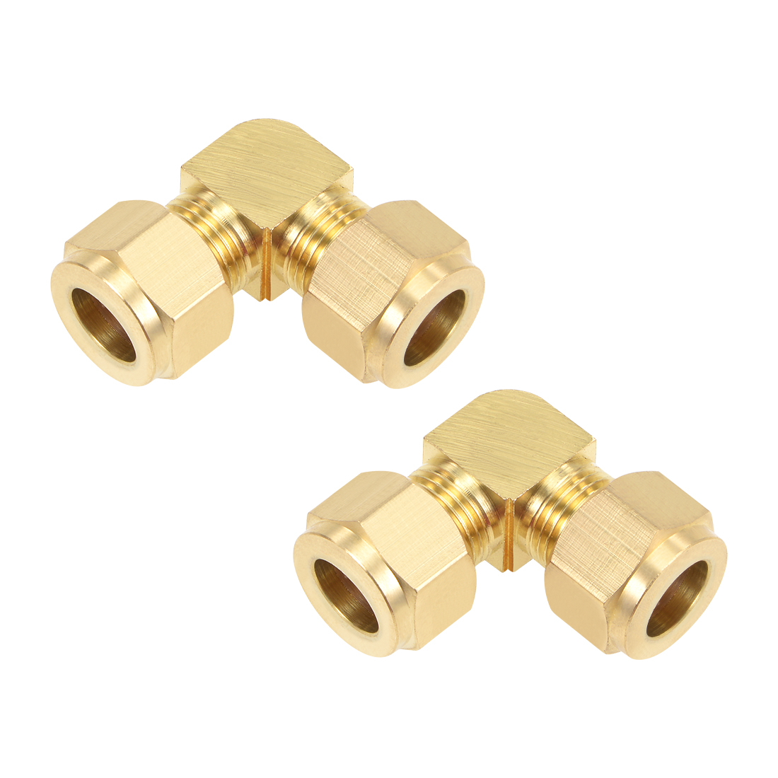 Brass Compression Tube Fitting 10mm OD 90 Degree Elbow Pipe Adapter 2pcs