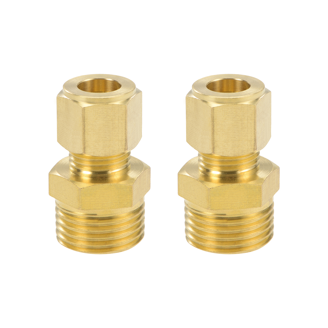 Brass Compression Tube Fitting 9.6mm OD 1/2 NPT Thread Pipe Adapter 2pcs