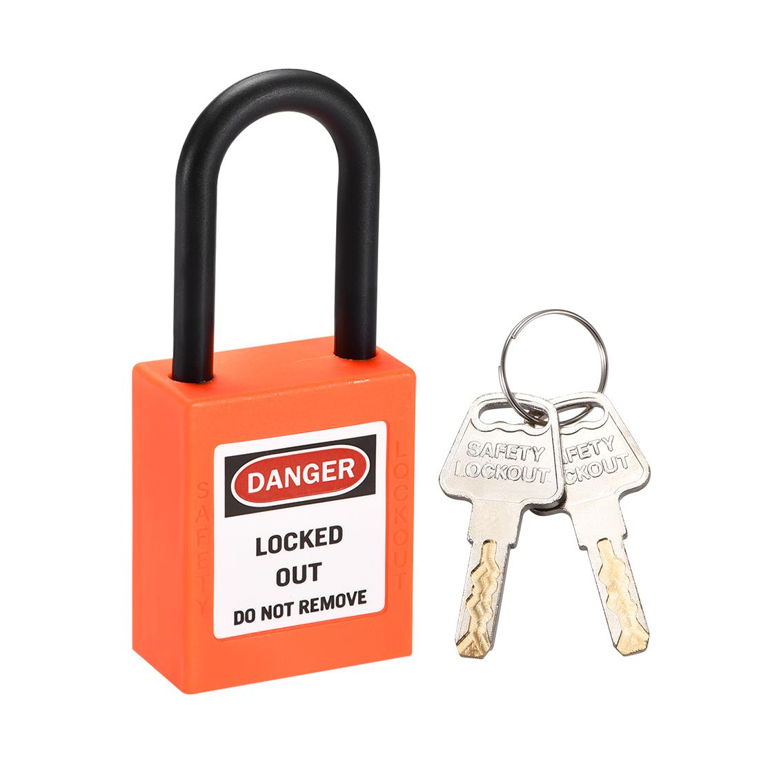 Lockout Tagout Locks, 1-1/2 Inch Shackle Key Different Safety Padlock Orange