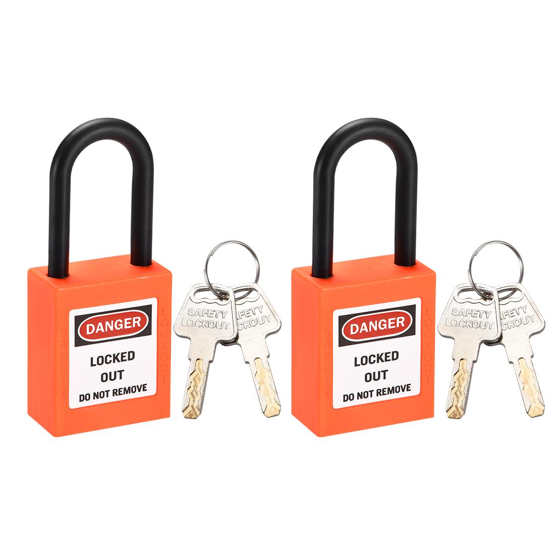Lockout Tagout Locks,1-1/2 Inch Shackle Key Different Safety Padlock Orange 2pcs