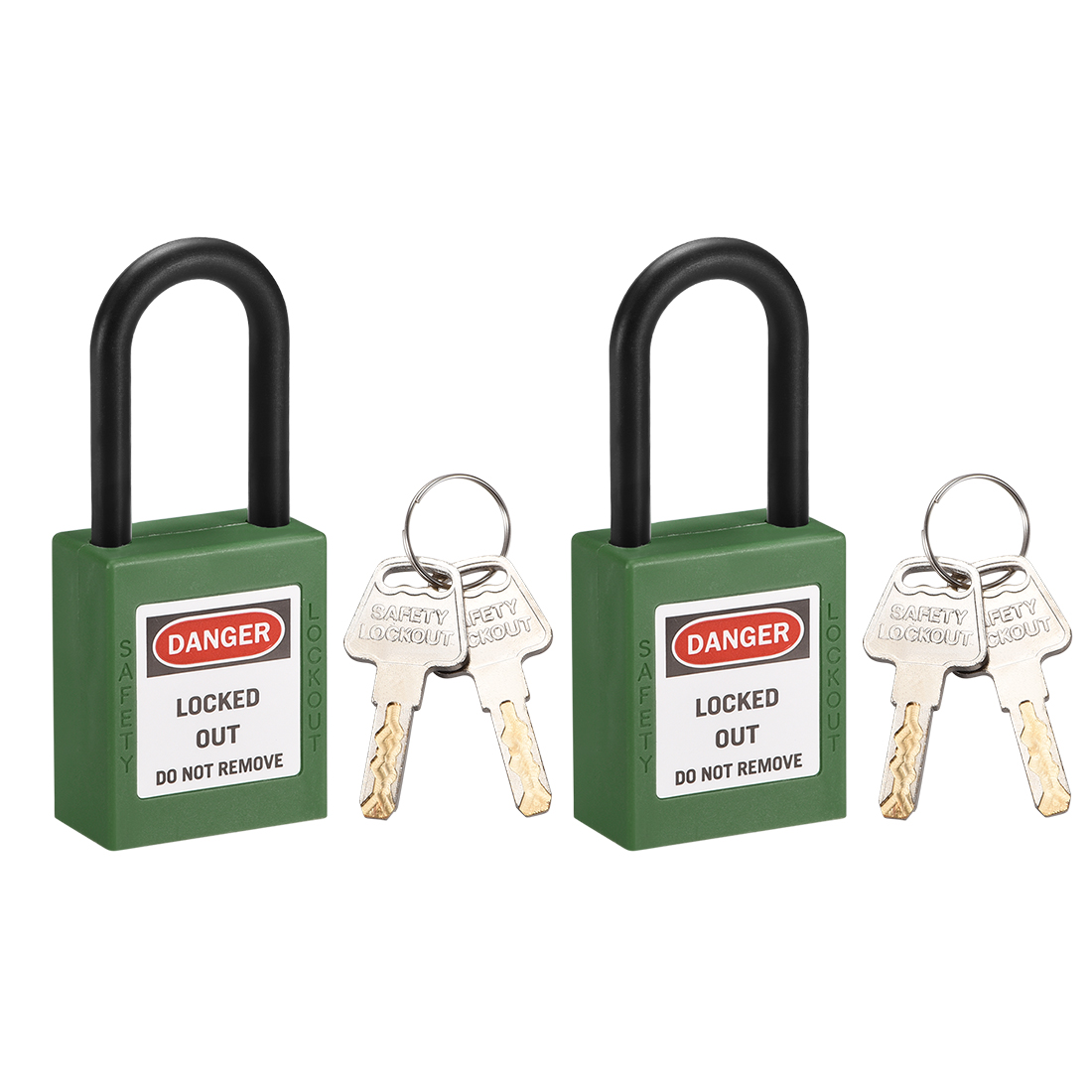 Lockout Tagout Locks,1-1/2 Inch Shackle Key Different Safety Padlock Green 2pcs