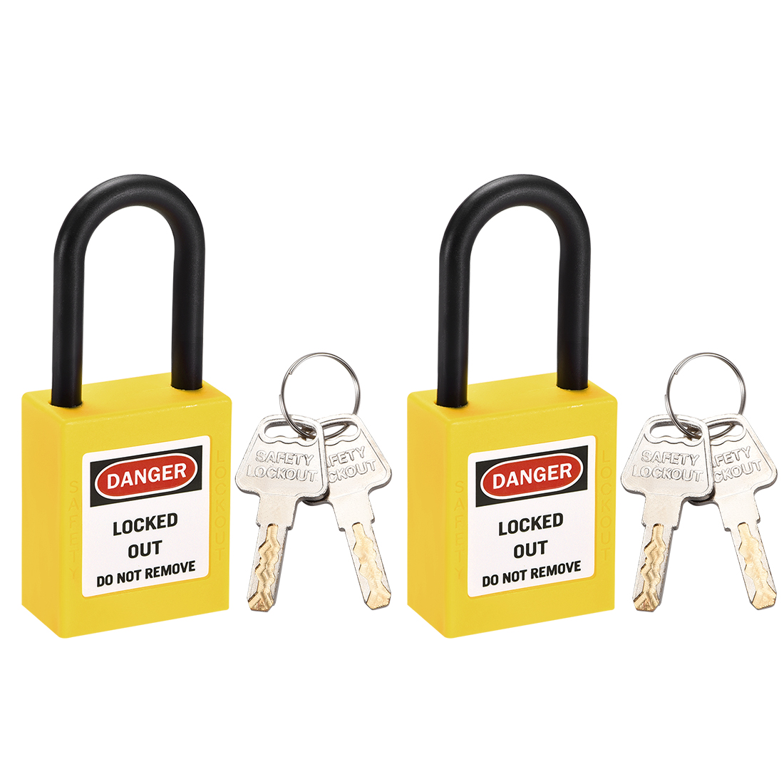 Lockout Tagout Locks,1-1/2 Inch Shackle Key Different Safety Padlock Yellow 2pcs