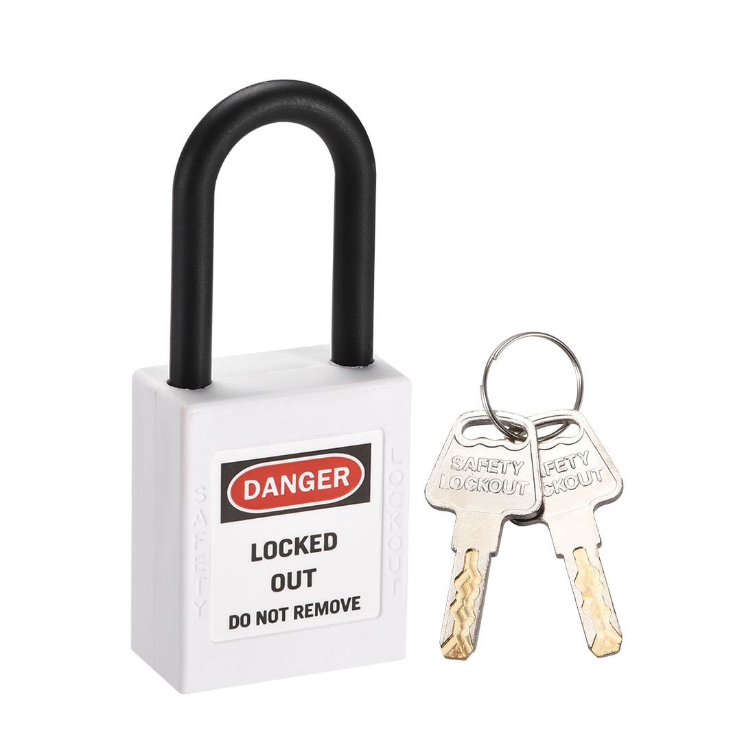 Lockout Tagout Locks, 1-1/2 Inch Shackle Key Different Safety Padlock White