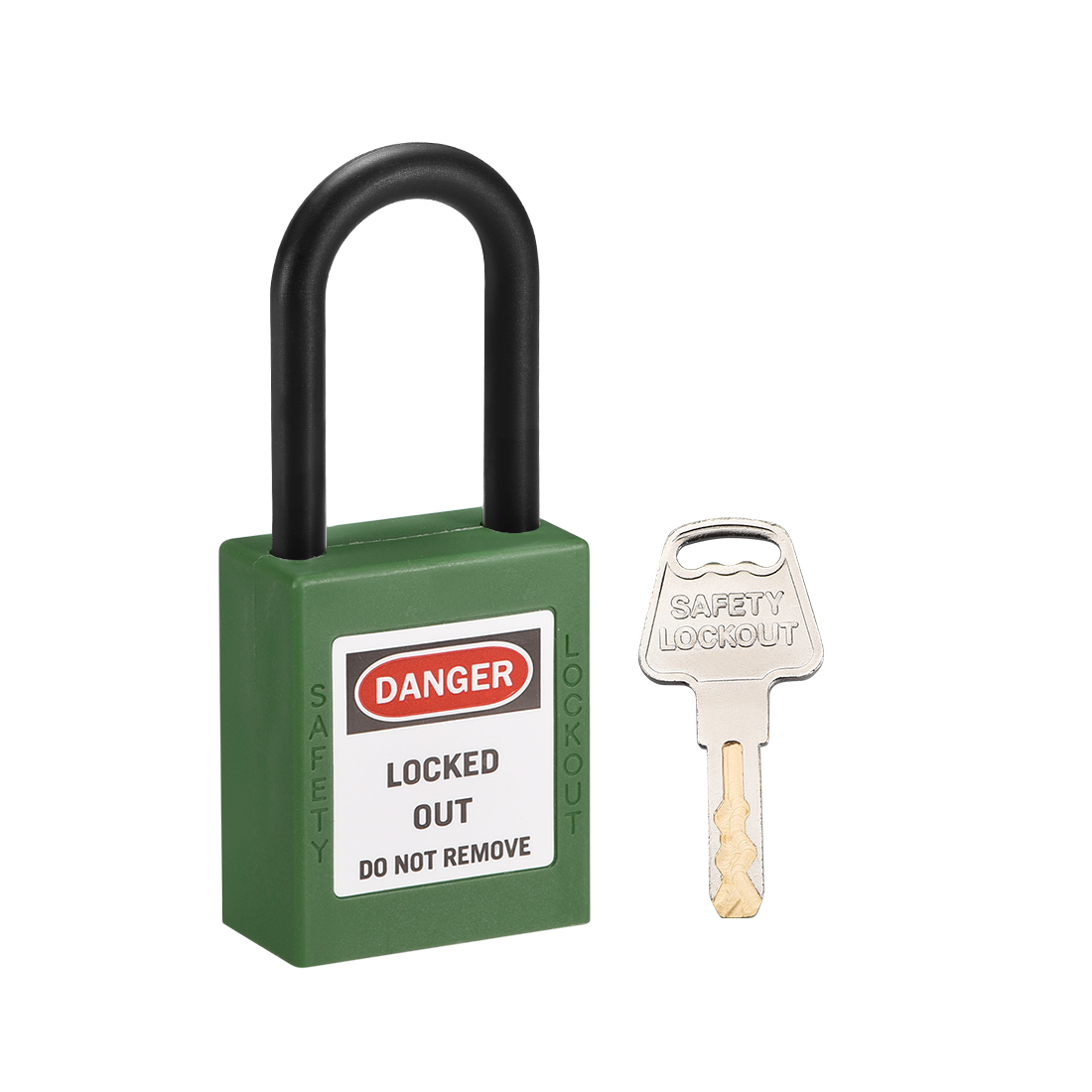 Lockout Tagout Locks, 1-1/2 Inch Shackle Key Alike Safety Padlock Plastic, Green