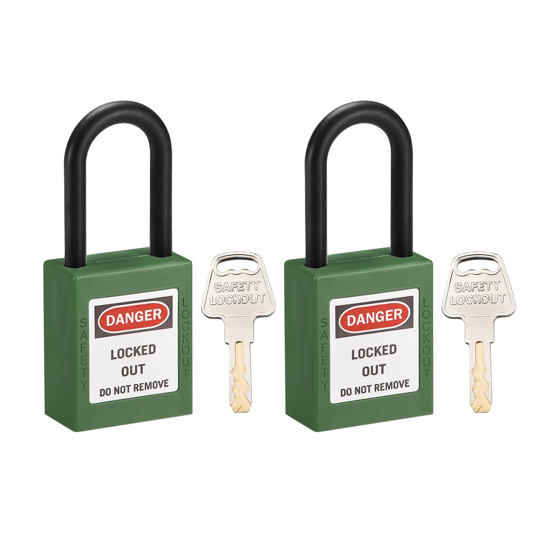 Lockout Tagout Locks, 1-1/2 Inch Shackle Key Alike Safety Padlock Green 2pcs
