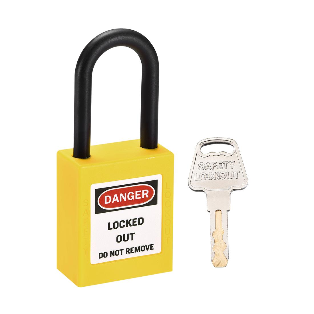 Lockout Tagout Locks,1-1/2 Inch Shackle Key Alike Safety Padlock Yellow