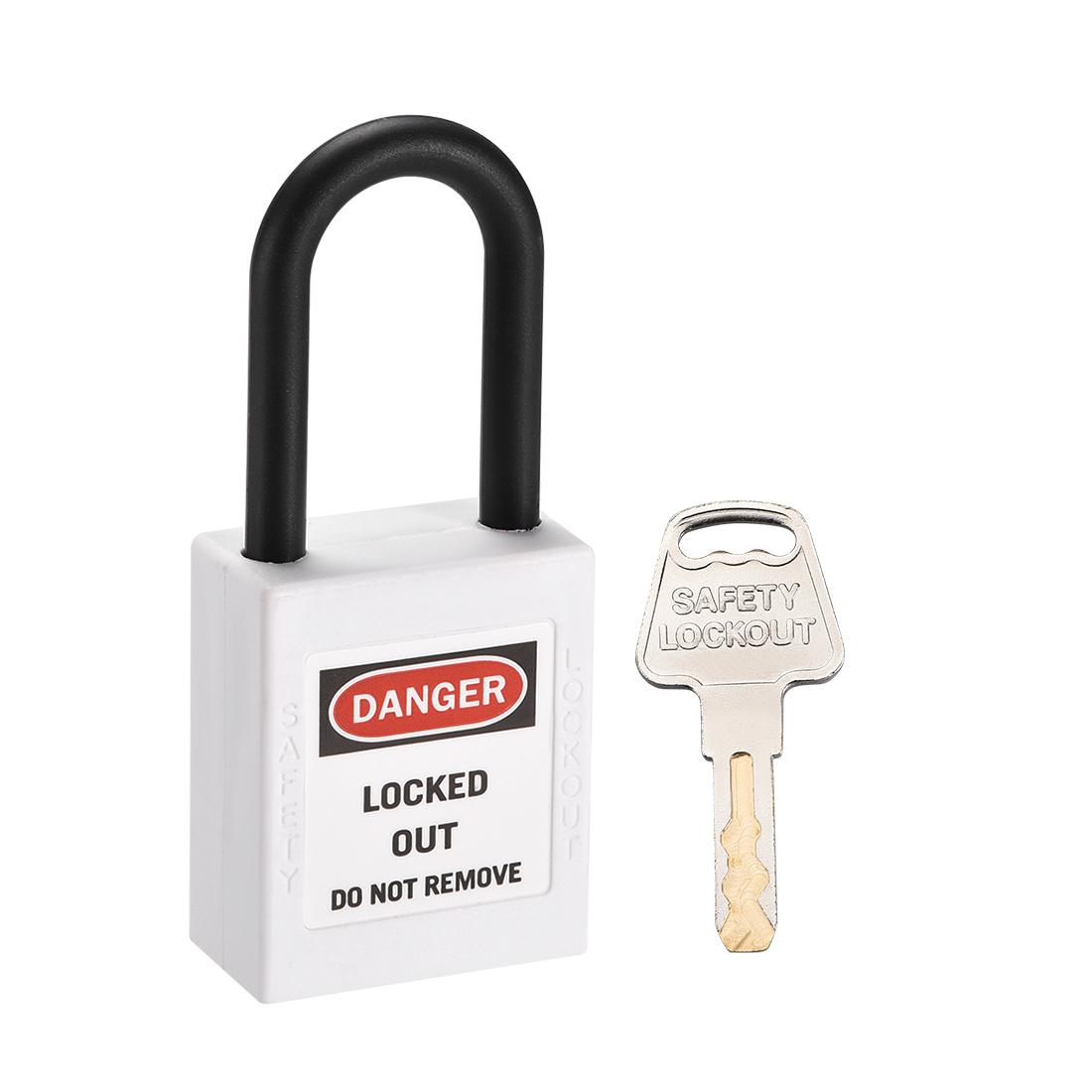 Lockout Tagout Locks, 1-1/2 Inch Shackle Key Alike Safety Padlock White