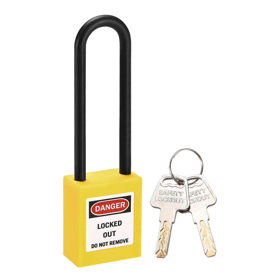 Lockout Tagout Locks 3 Inch Shackle Key Different Safety Padlock Plastic Yellow