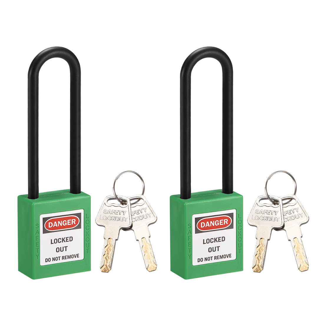 Lockout Tagout Locks 3 Inch Shackle Key Different Safety Padlock Plastic 2pcs
